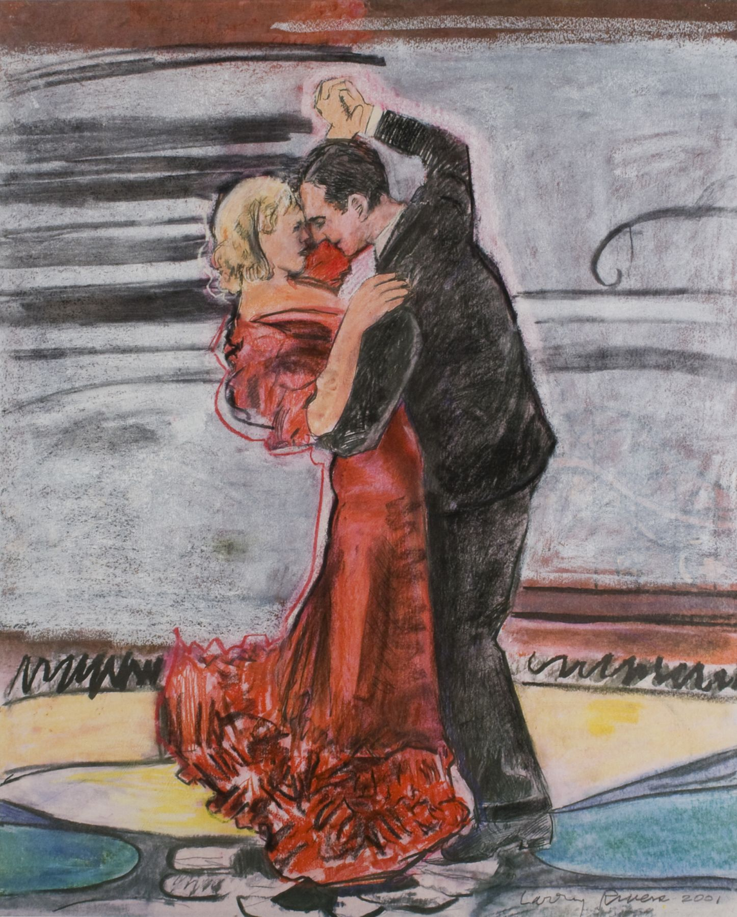 Larry Rivers, Dancers, 2001, pastel on paper, 36 x 29 inches