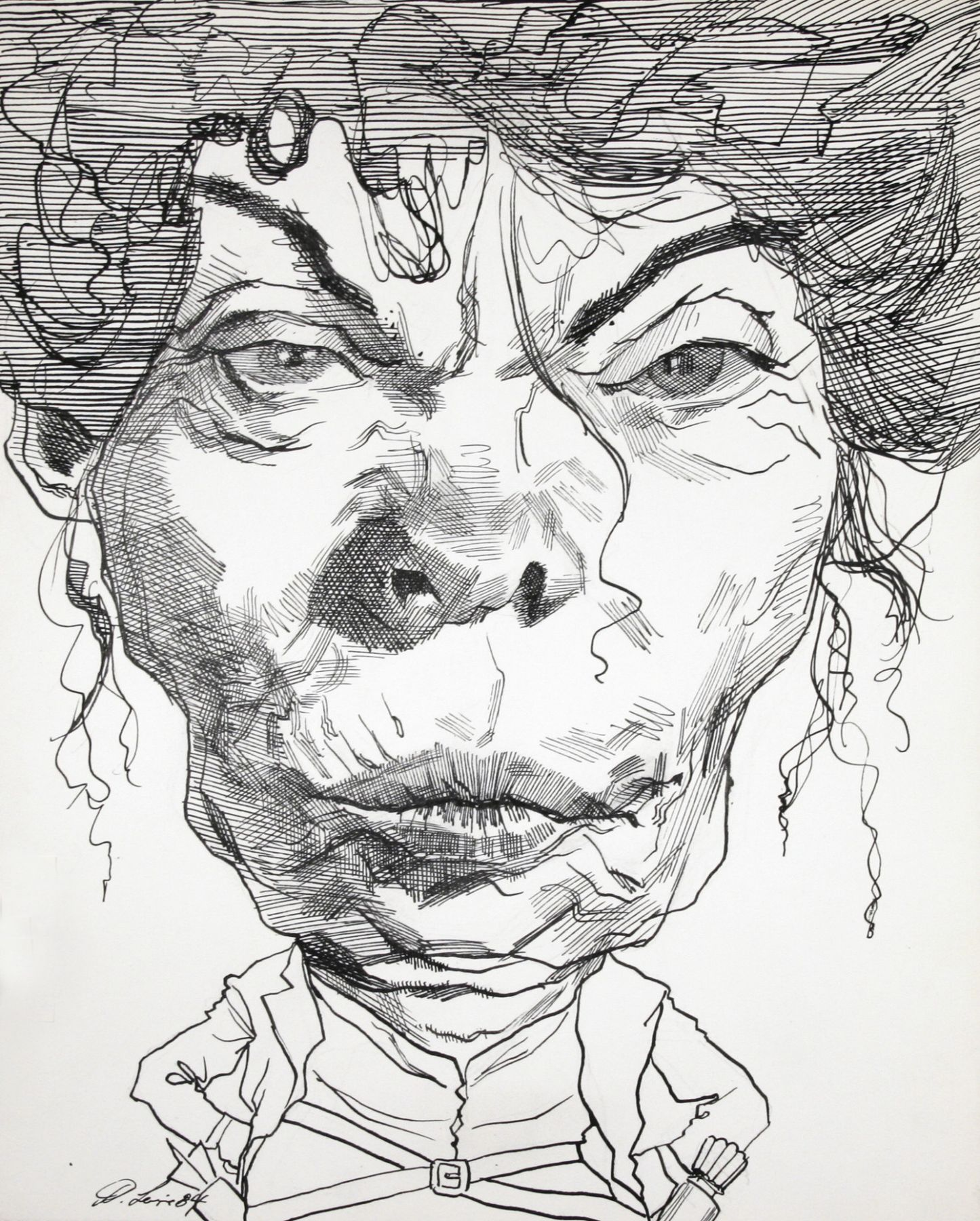 David Levine, Jean Kirkpatrick, 1984, ink on paper, 13 1/2 x 11 inches