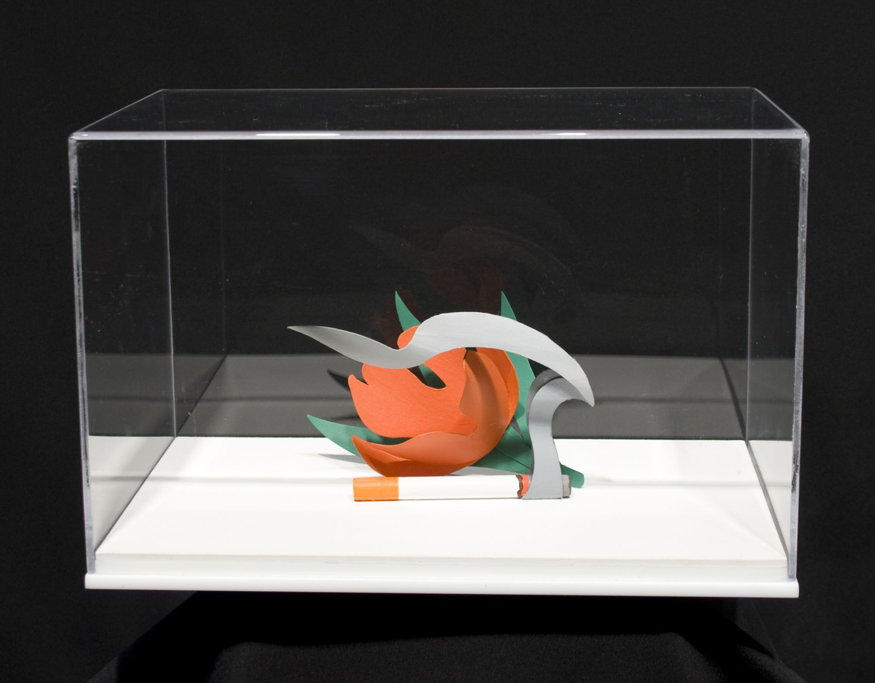 Tom Wesselmann, Maquette for Tulip and Smoking Cigarette, 1983, liquitex on cardboard and wood in plexiglass box, 3 1/2 x 5 1/2 3 x 1/2 inches, box size: 7 1/4 x 11 1/2 x 7 1/4 inches