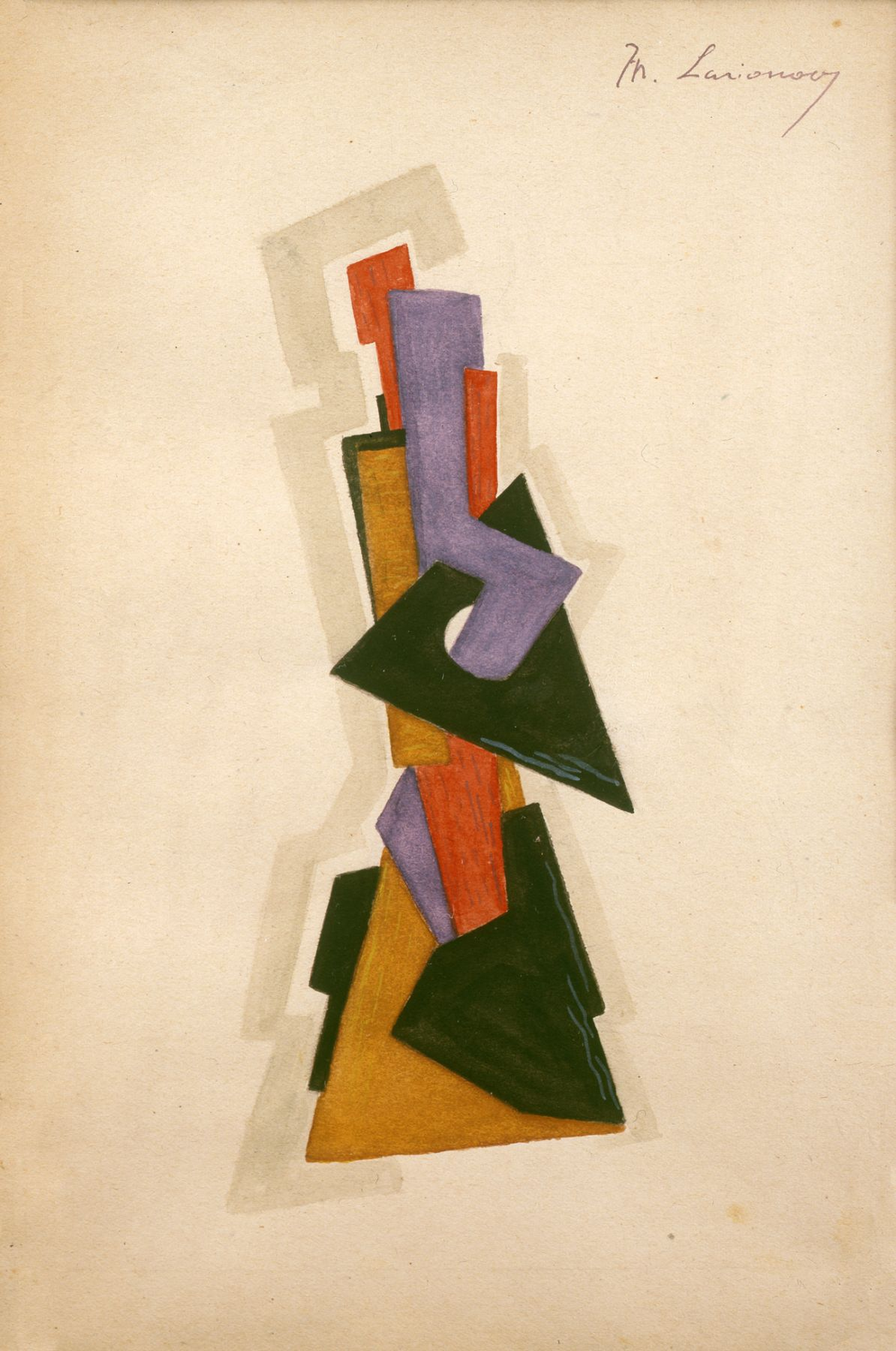Mikhail Larionov, Design for Shadow Puppet, c. 1917-23, gouache and pencil on paper, 9 x 6 inches