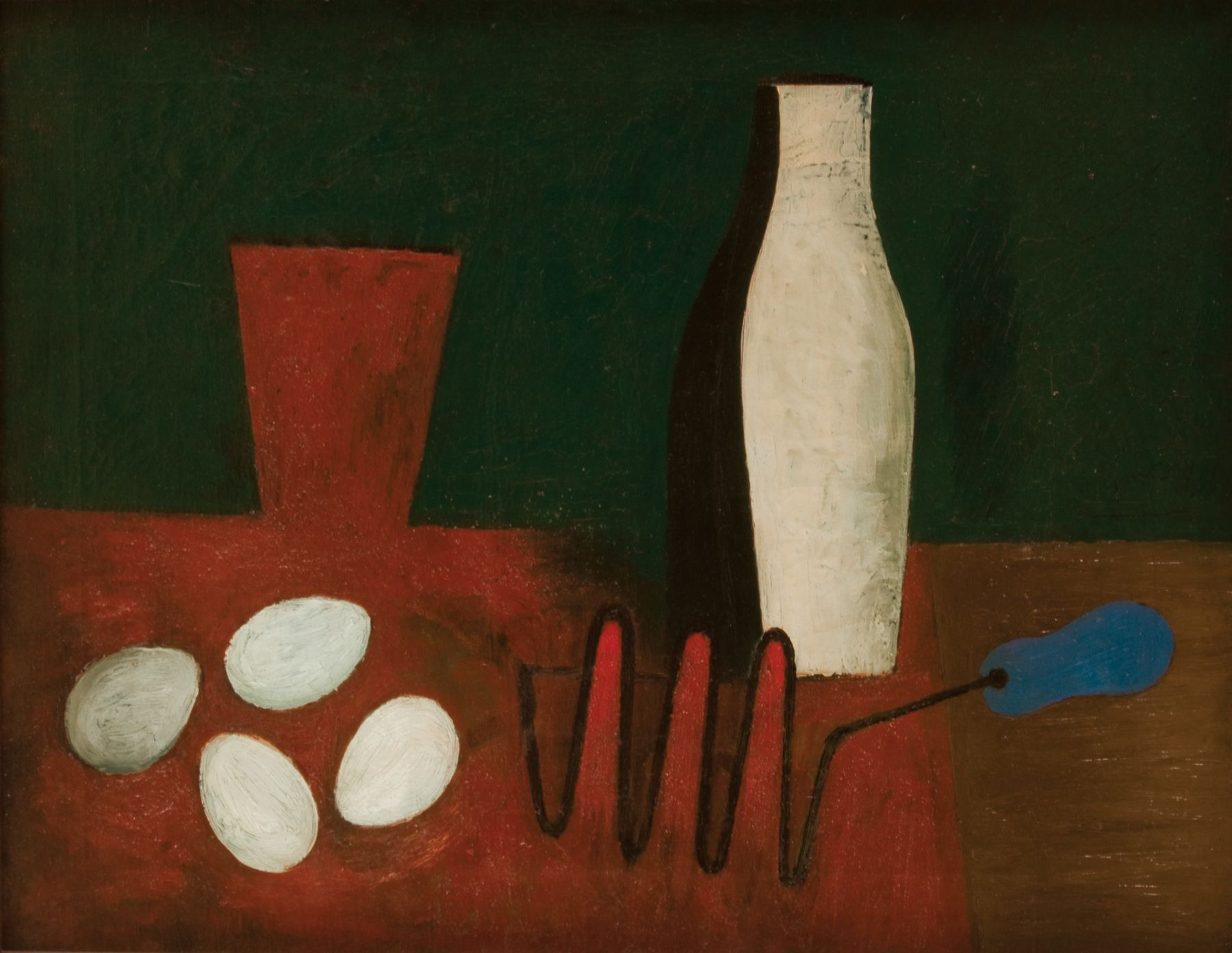 willem de kooning, Untitled (Still Life with Eggs and Potato Masher), c. 1928-1929 oil and sand on canvas 18 x 24 inches