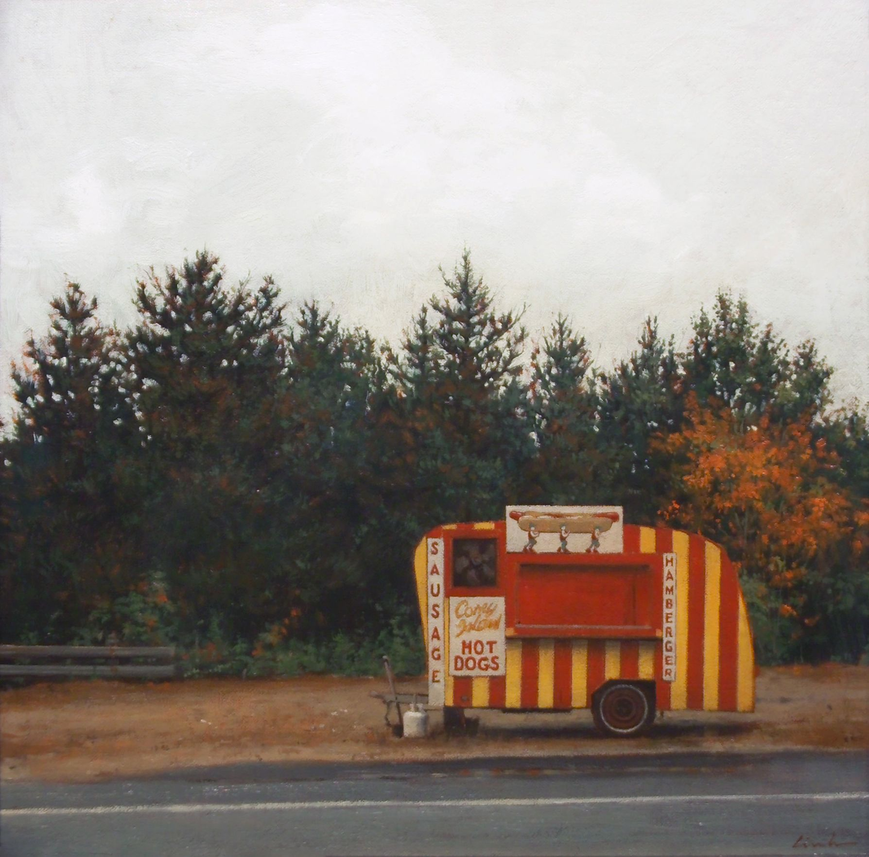 Linden Frederick, Hot Dogs (SOLD), 2007, oil on canvas board, 12 1/4 x 12 1/8 inches