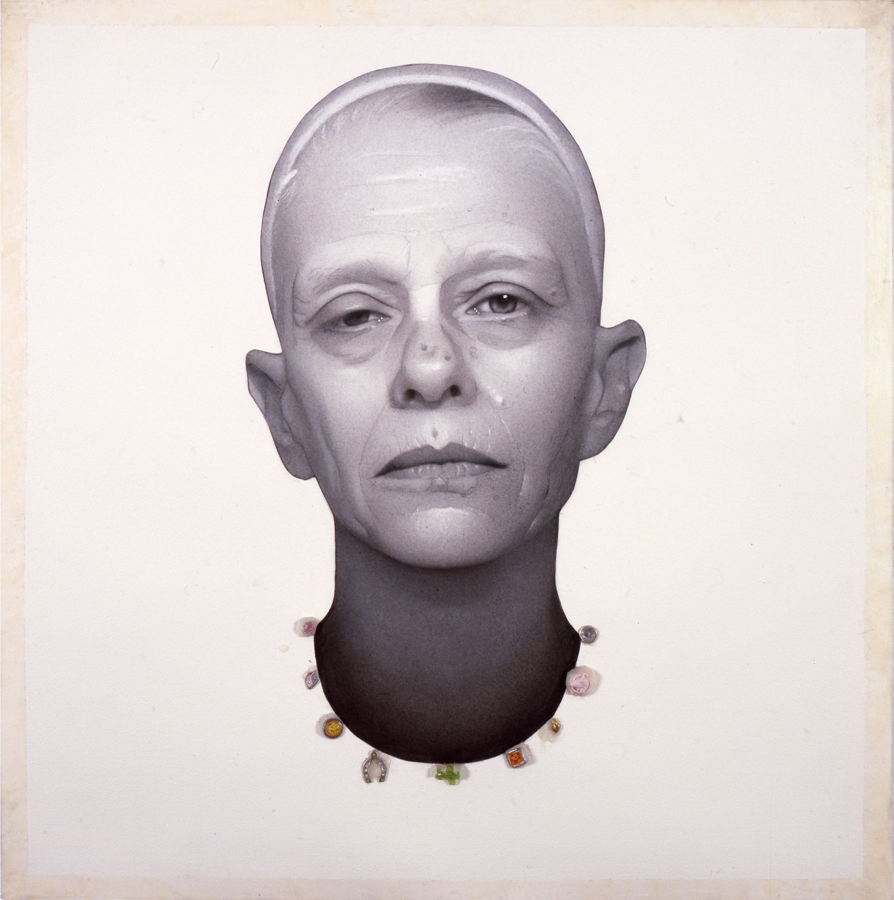 Susan Hauptman, Self Portrait (with charms), 2008, charcoal, charms, encaustic on paper, 25 x 24 inches