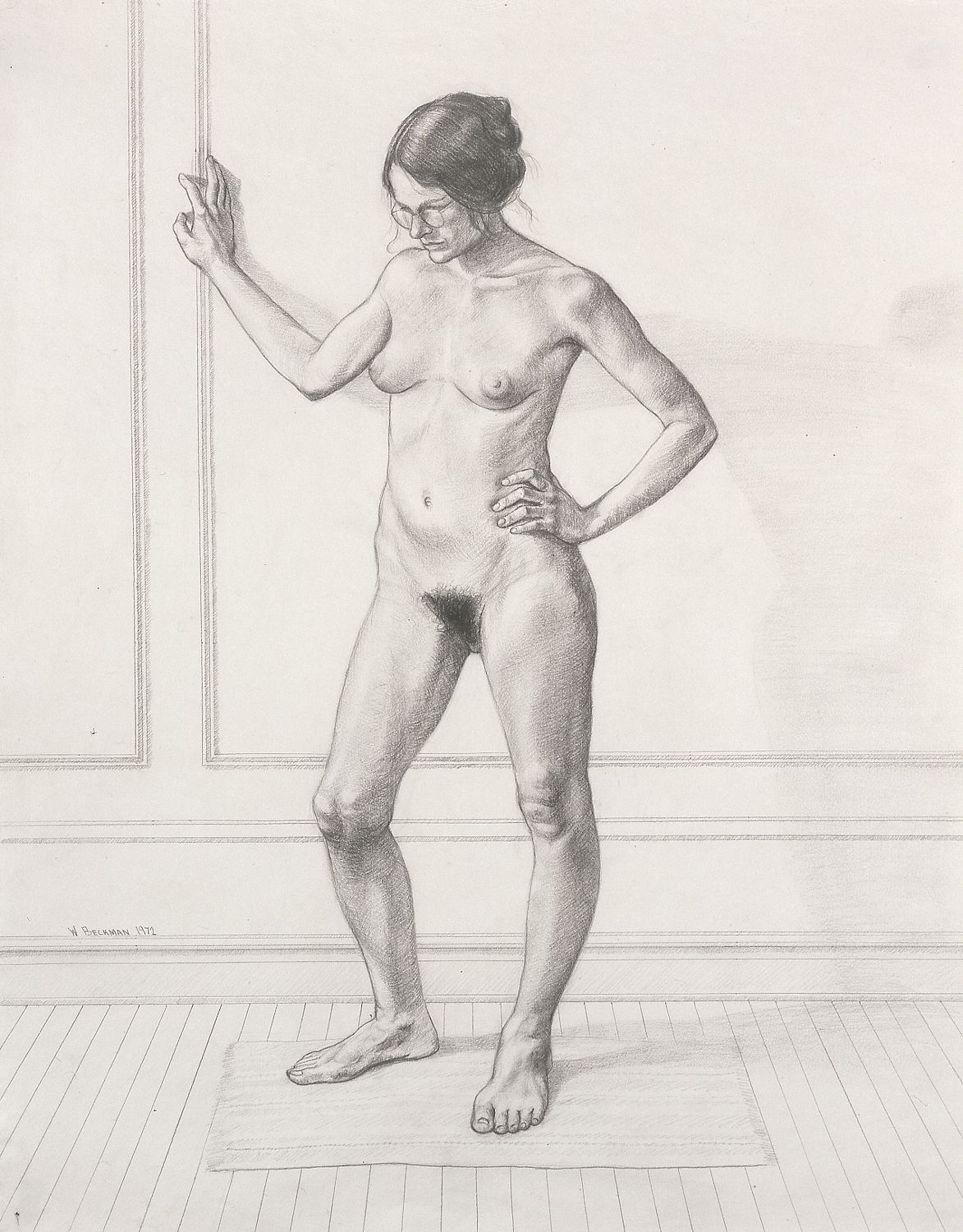 """William Beckman, Study for """"Diana #1"""", facing left, 1972, pencil on paper, 22 3/4 x 18 inches"""