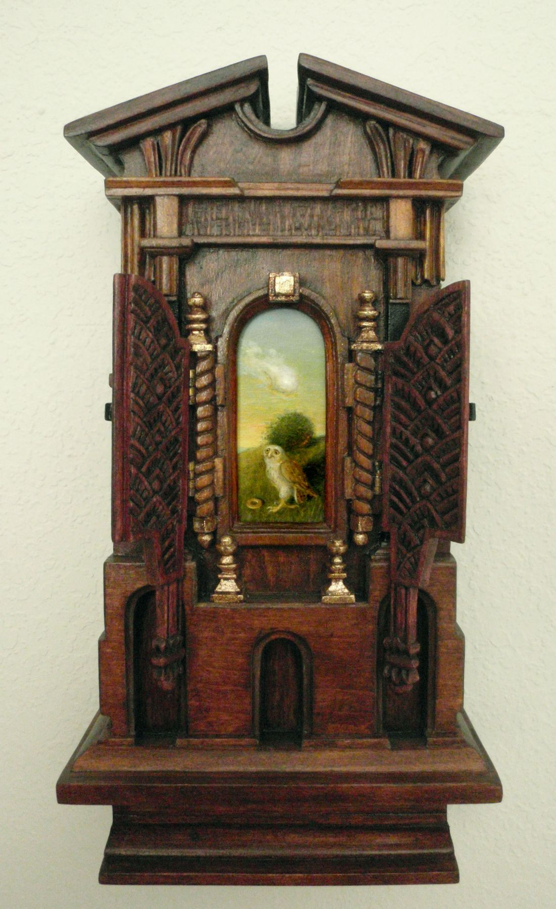 Holly Lane, Mindful Fledgling Rethinking Its Dietary Choices, 2010, acrylic and carved wood, 12 1/4 x 6 1/2 x 3 3/8 inches