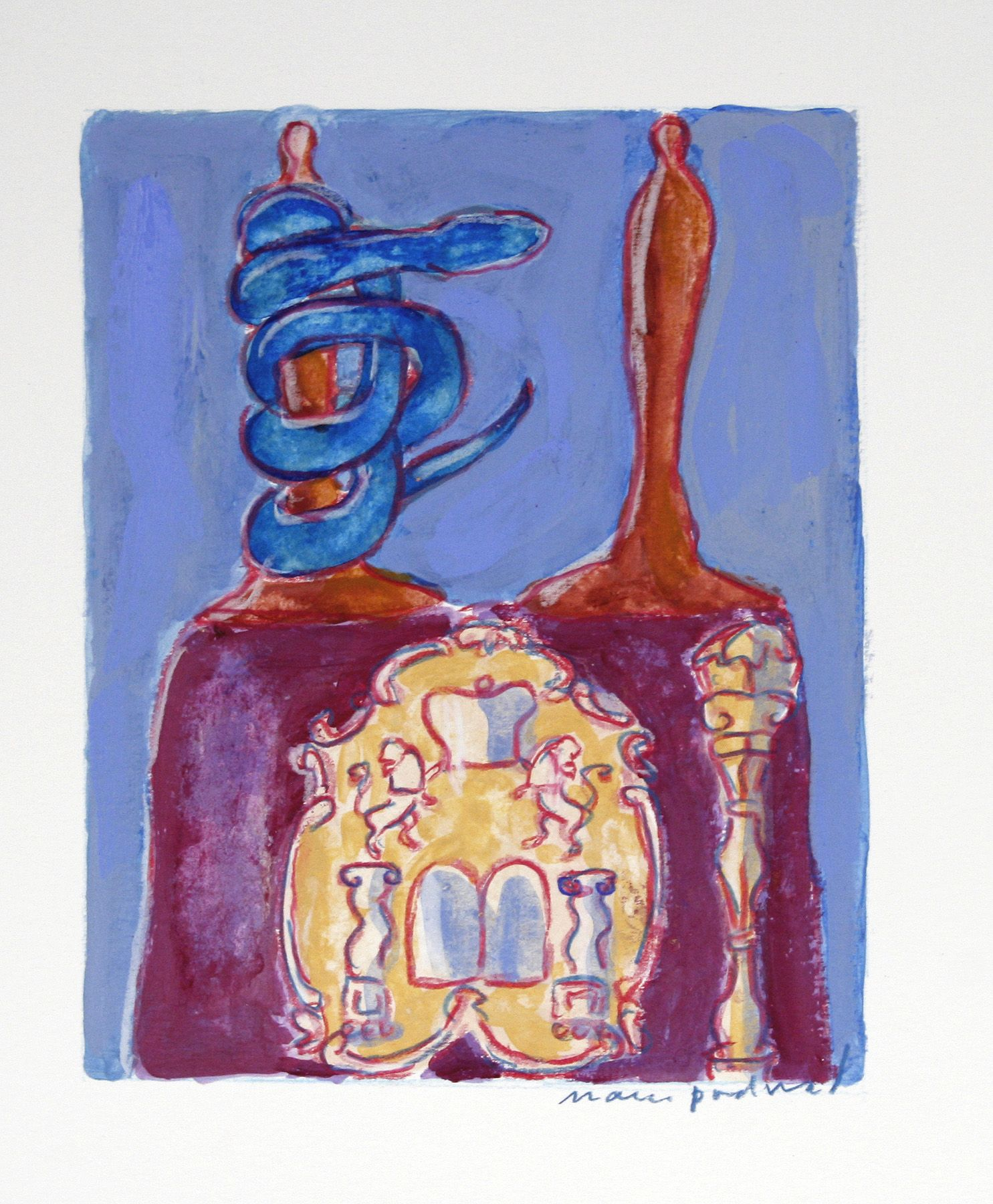 Mark Podwal, Good and Evil, 2008, acrylic, gouache & colored pencil on paper, 7 1/2 x 5 3/4 inches