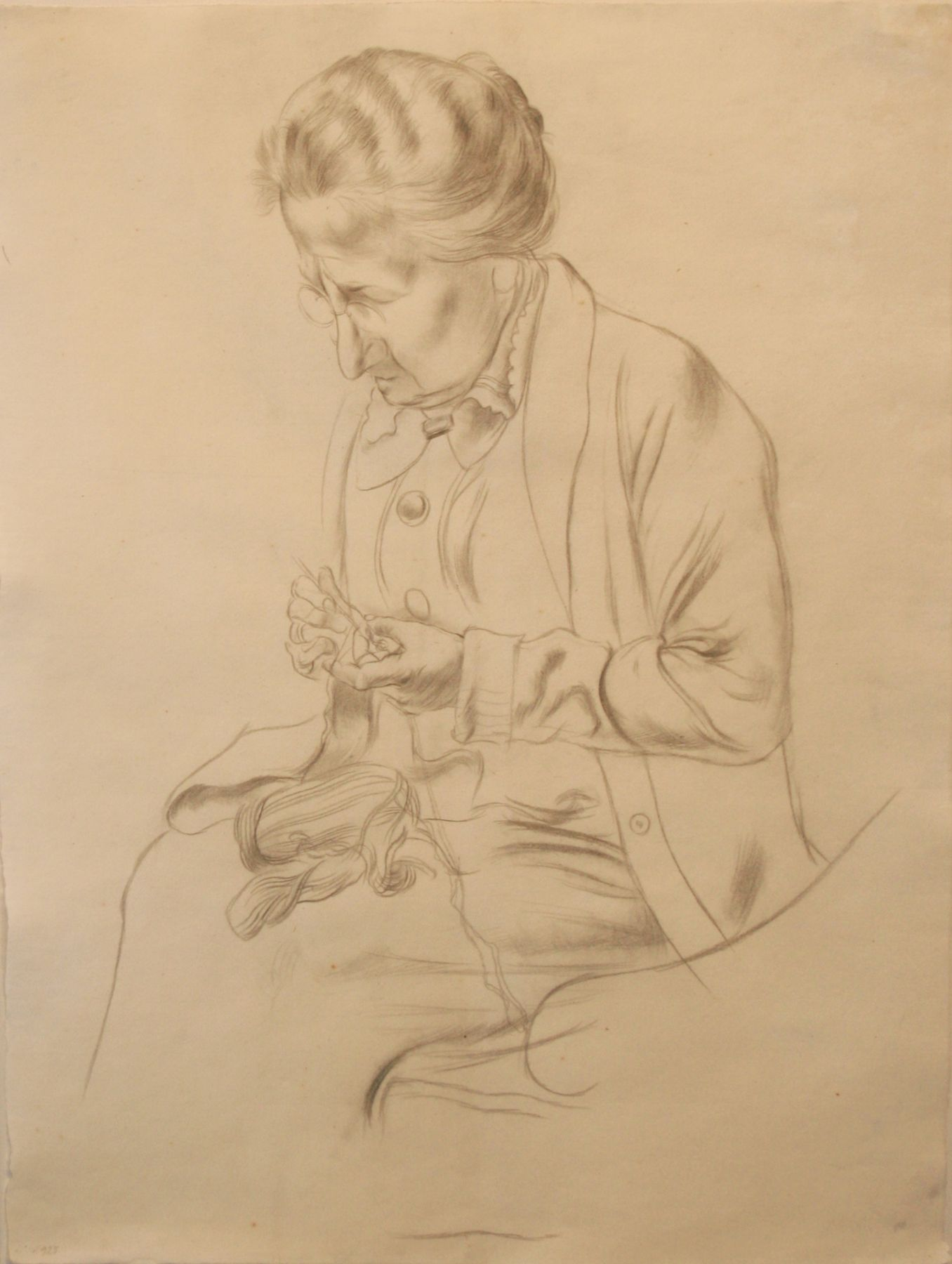 George Grosz, Mother Grosz, 1925, pencil on paper, 23 3/4 x 18 3/8 inches