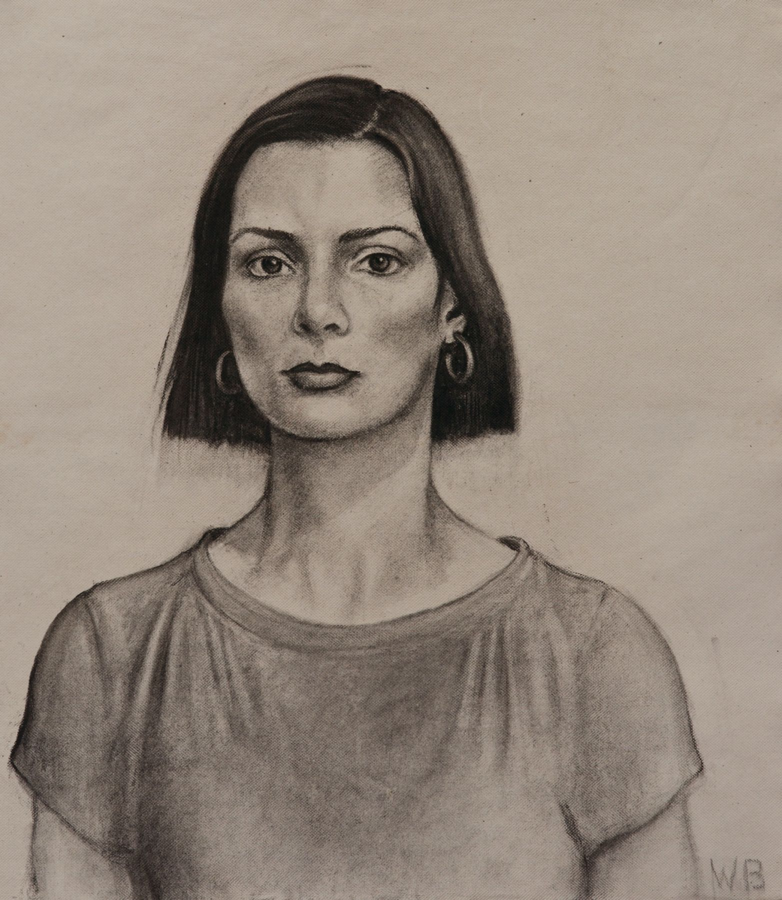 william beckman, Dianne, 2013, charcoal on handmade paper, 29 x 25 inches