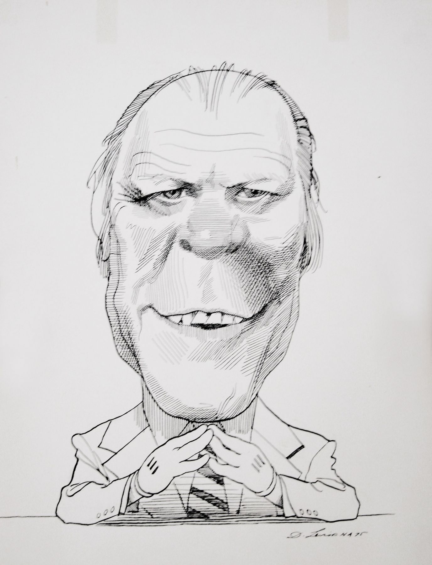 David Levine, Gerald Ford in Mickey Mouse Gloves, 1975, ink on paper, 13 3/4 x 11 inches