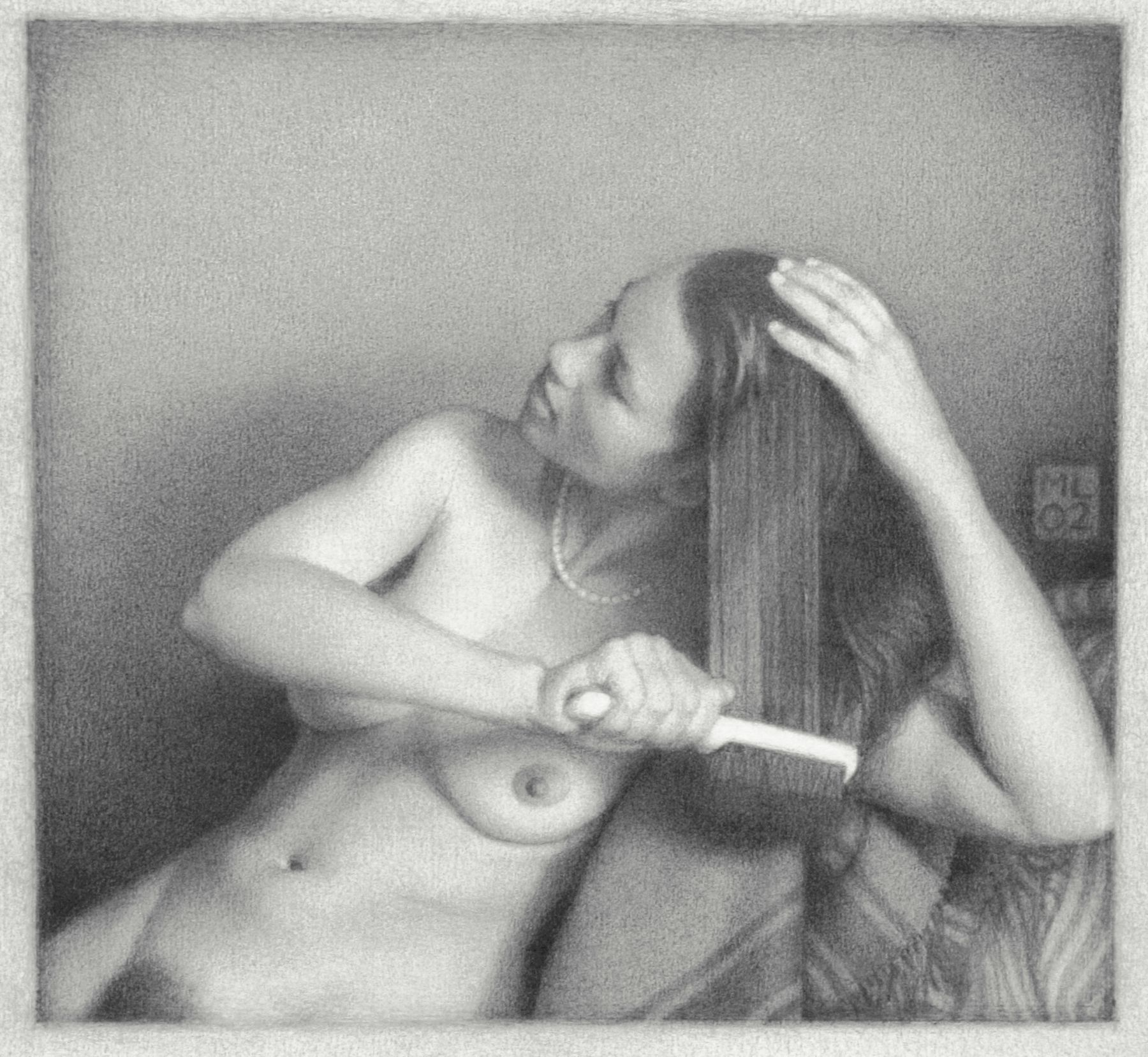 Michael Leonard, White Hairbrush, 2002, graphite pencil on paper, 7 1/8 x 7 3/4 inches