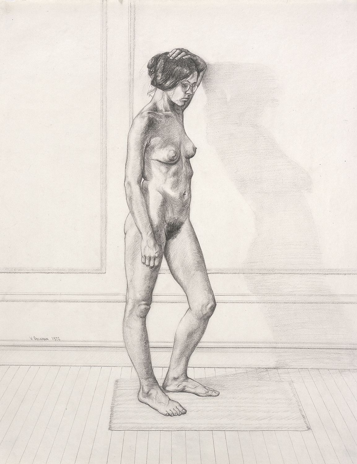 """William Beckman, Study for """"Diana #1"""", facing right, 1972, pencil on paper, 23 x 18 inches"""