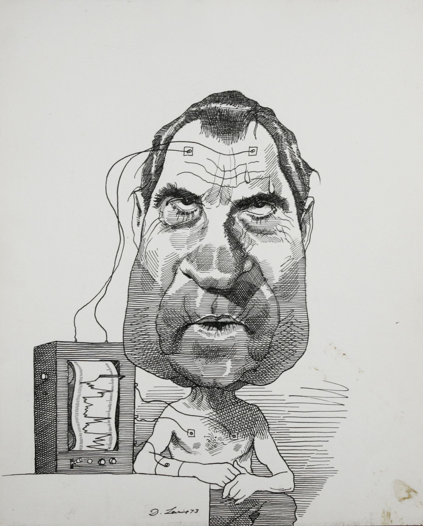 David Levine, Nixon & Lie Detector, 1973, ink on paper, 13 3/4 x 11 inches