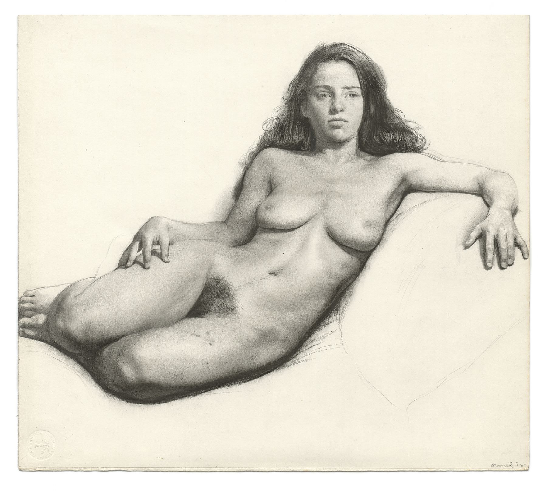 Steven Assael, Julie (SOLD), 2008, graphite and charcoal on paper, 13 x 14 1/2 inches
