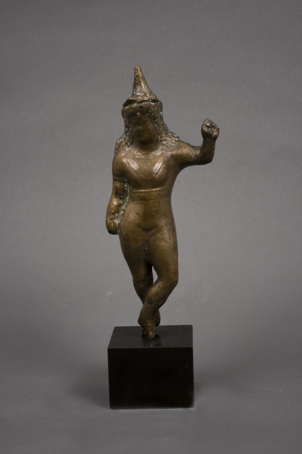 Elie Nadelman, Standing Woman in Conical Hat, Raised Arm, c. 1936 - 46, bronze with light brown patina, 9 7/8 inches high