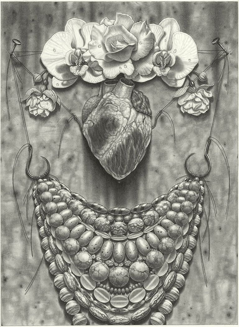 maria tomasula, What the Water Gave (for Frida), 2017, graphite on paper, 22 x 16 inches