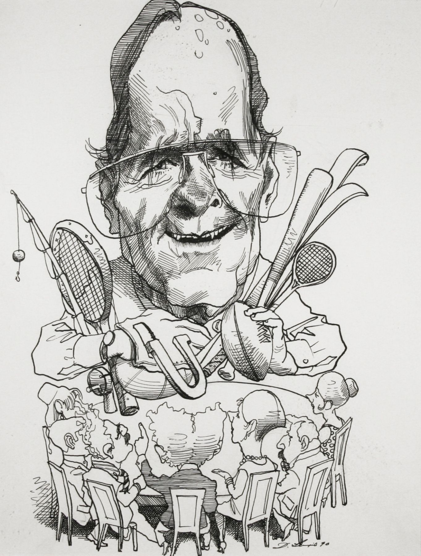 David Levine, George Bush, 1990, ink on paper, 13 3/4 x 11 inches