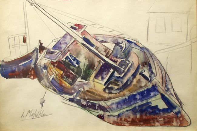 Jan Matulka, Old Boat - New England, nd, watercolor on paper, 14 x 21 1/2 inches