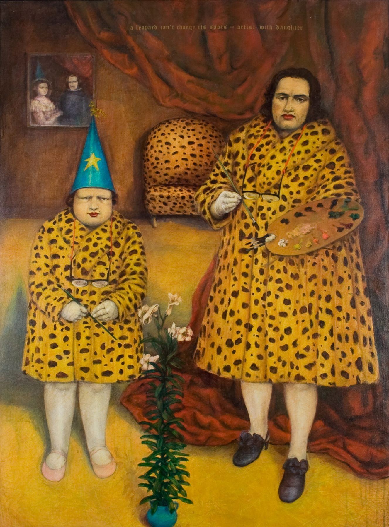 Kathleen Jesse, A Leopard Can't Change Its Spots - Artist with Daughter, 1994, oil on canvas on panel, 59 1/2 x 42 3/4 inches