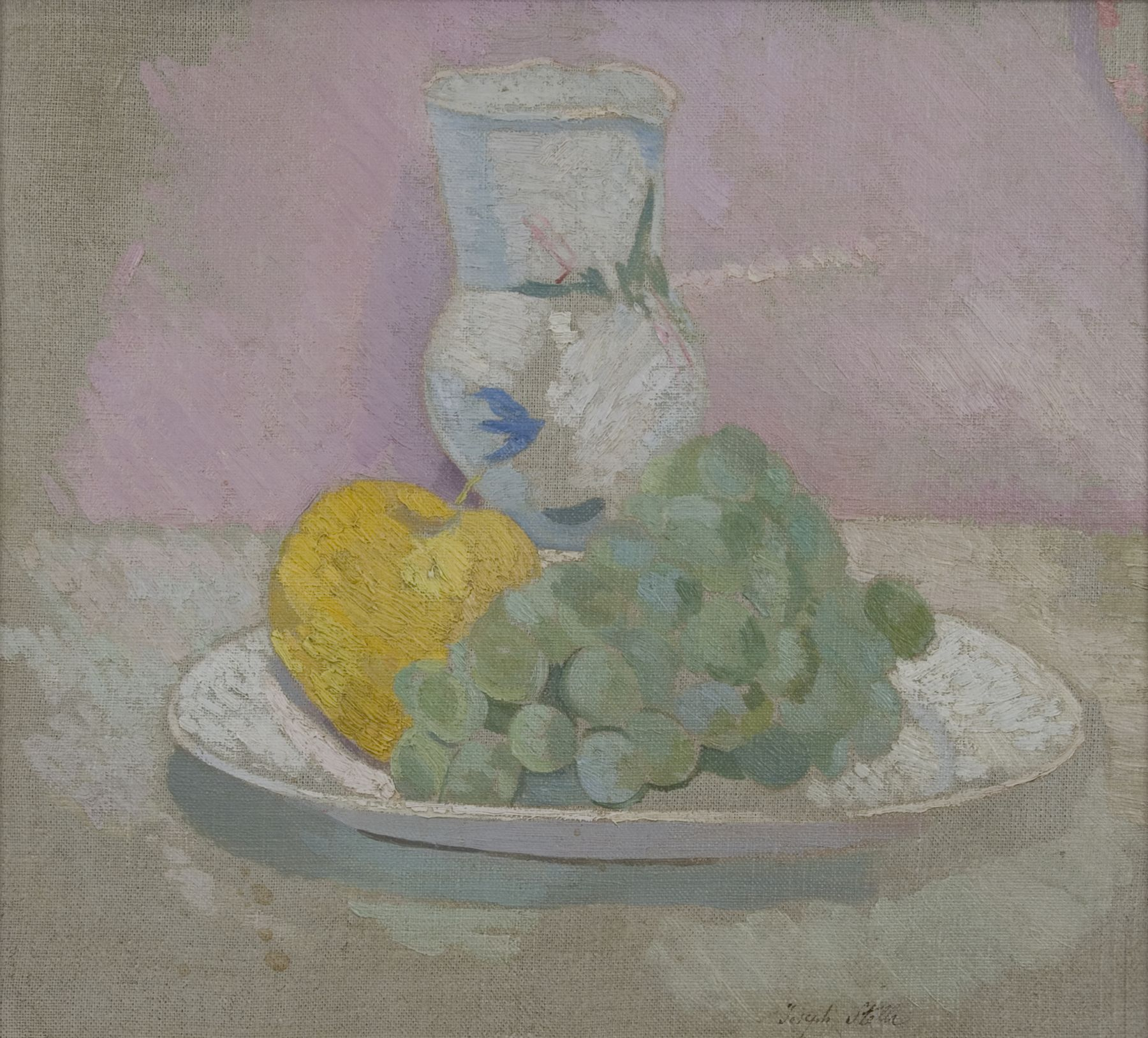 Joseph Stella, Still Life with Grapes, n.d., oil on canvas, 11 1/8 x 12 1/8 inches