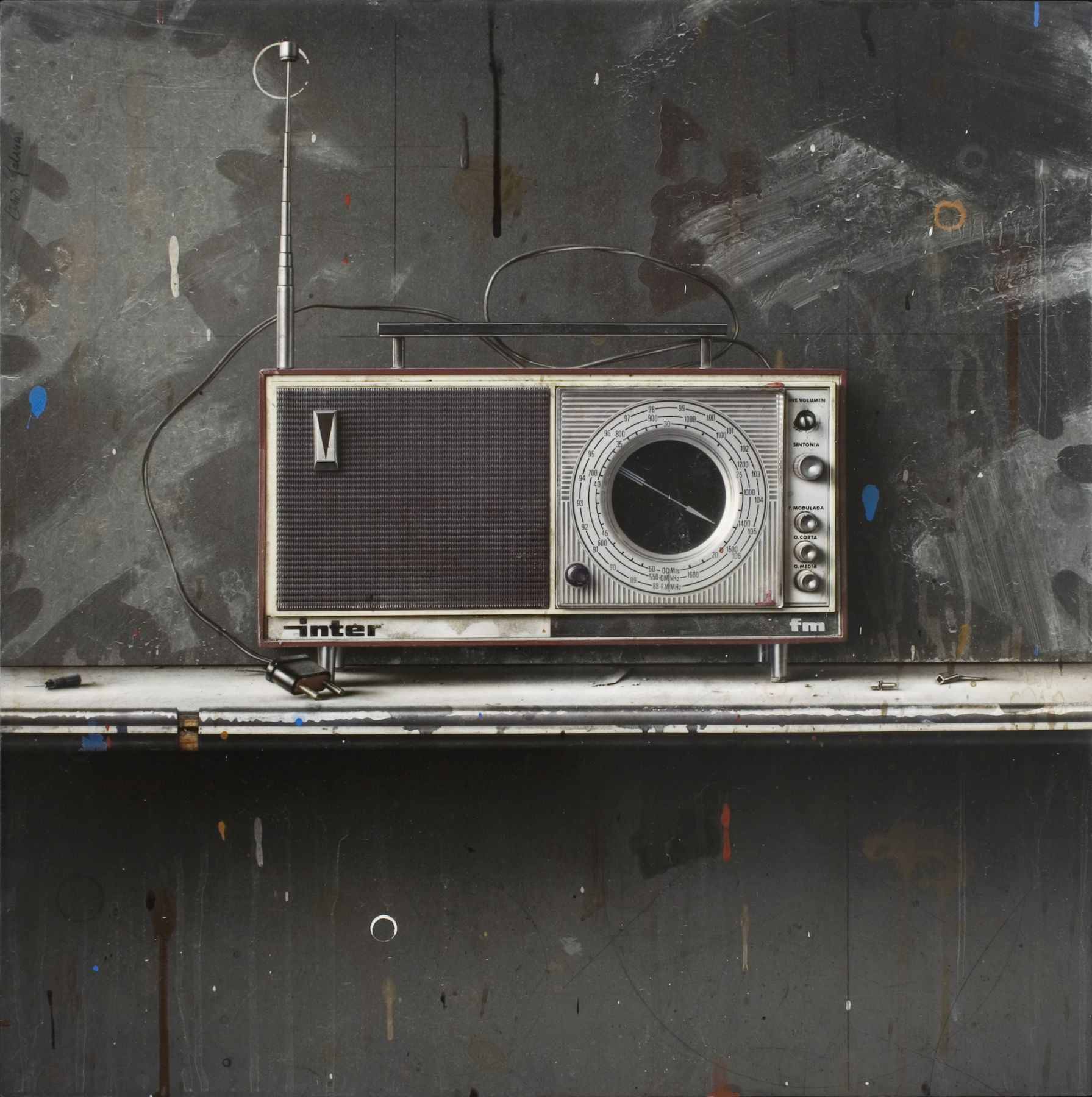 cesar galicia, Bodegón con Radio Inter (Still Life with Radio Inter), 2014, mixed media on plaster and wood, 22 5/8 x 22 3/4 inches