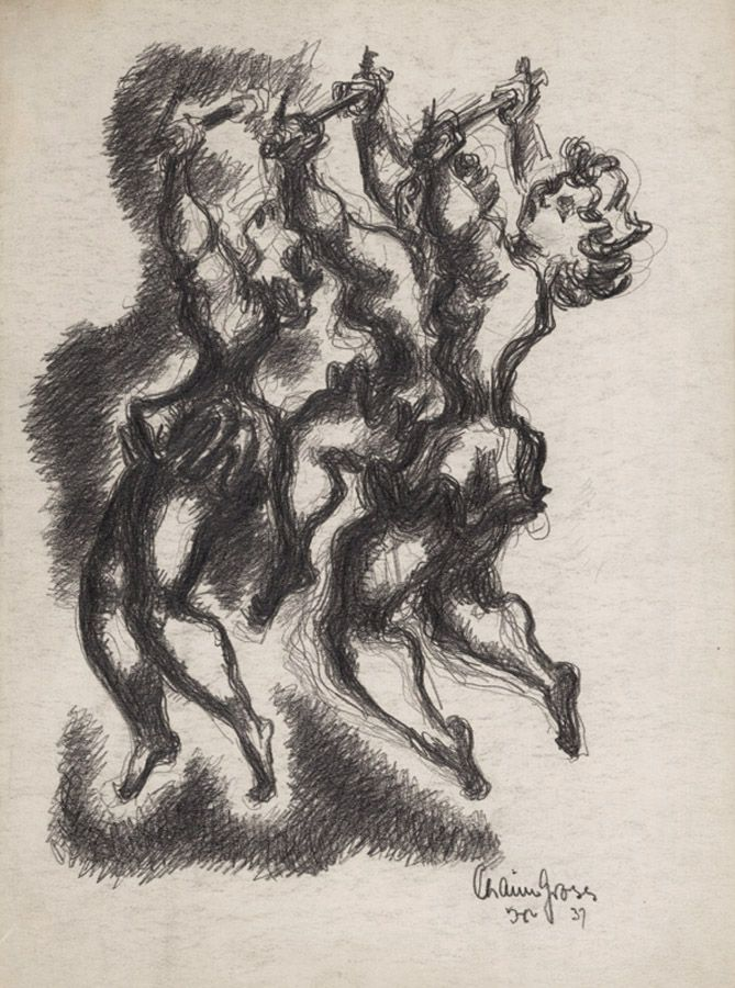 chaim gross,Three Acrobats, 1937, pencil on paper, 14 1/8 x 10 1/8 inches