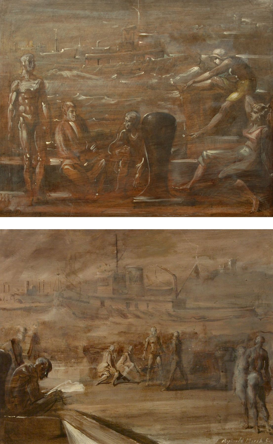 Reginald Marsh, Untitled Port Scene (Recto), Untitled Nudes on, on Port (Verso),1952 (recto), 1953 (verso), oil on panel, 16 x 20 (both sides)