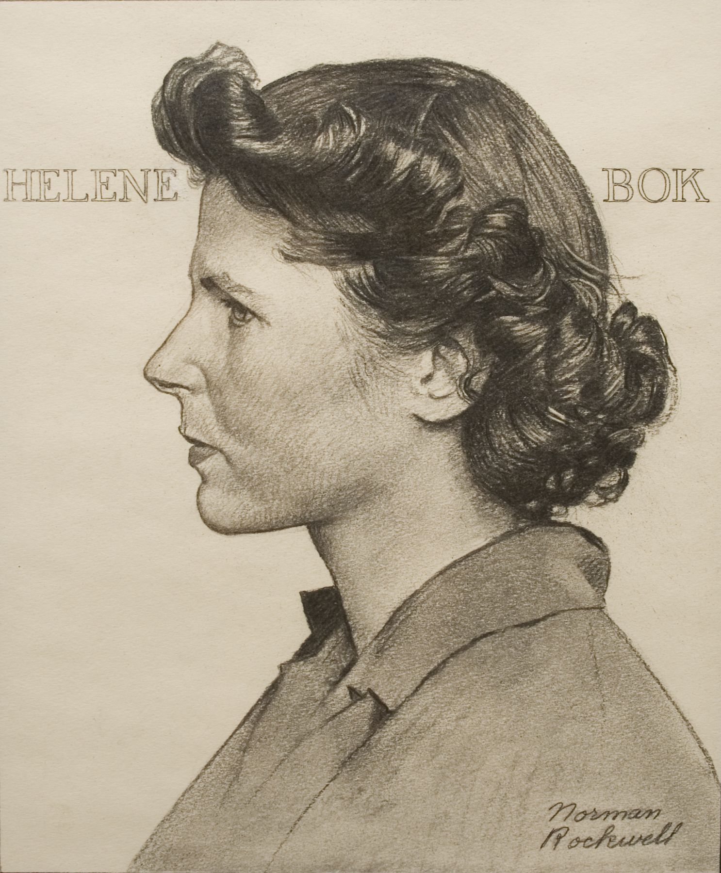 Norman Rockwell, Portrait of Helene Bok, c. 1944, pencil on paper, 14 x 11 inches