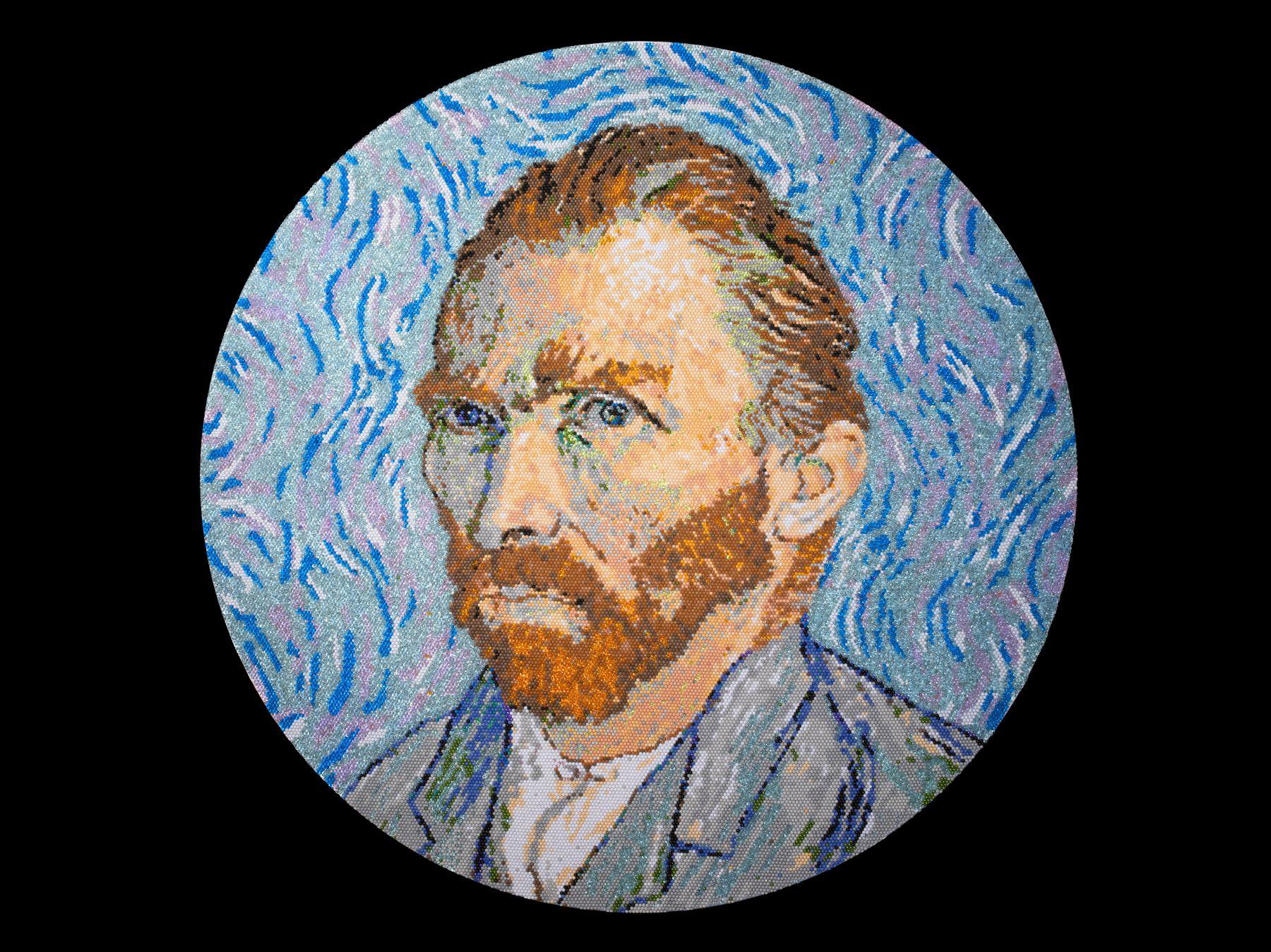 david mach, Van Gogh, 2013, pushpins, 39 1/4 inches diameter