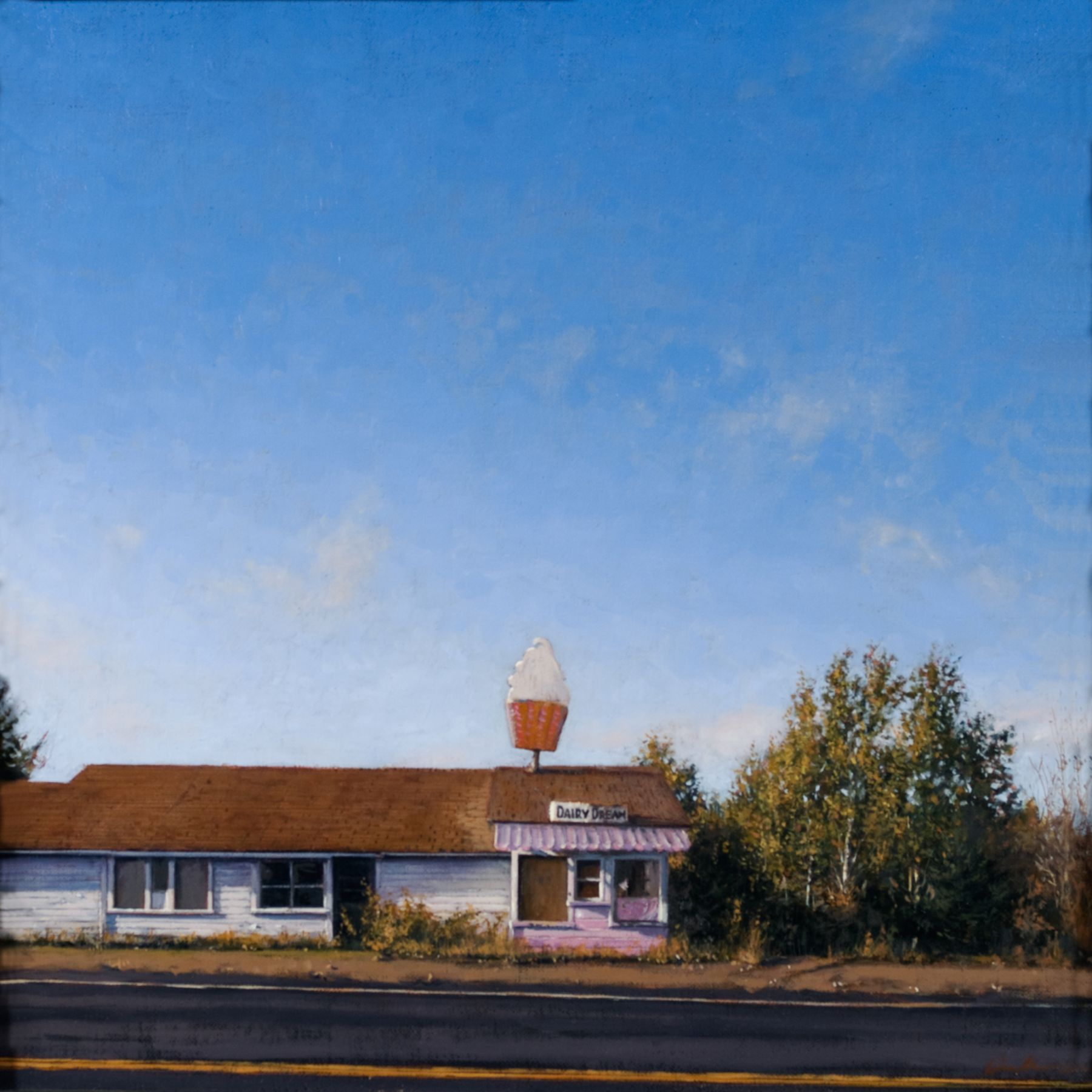 Linden Frederick, Dairy Dream (SOLD), 2008, oil on panel, 12 1/4 x 12 1/4 inches
