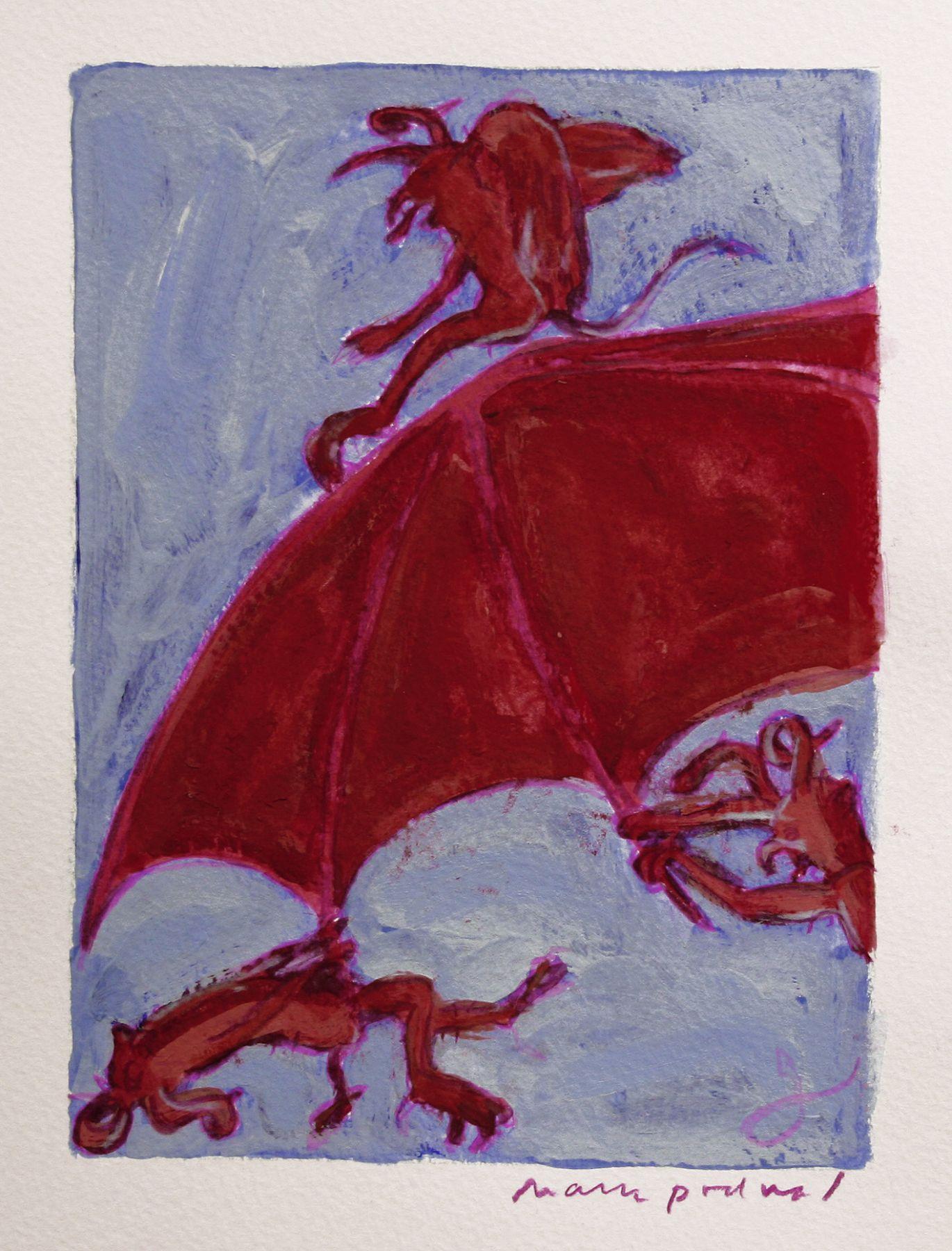 Mark Podwal, The Devil Proper, 2006, acrylic, gouache and colored pencil on paper, 7 1/5 x 5 1/2 inches