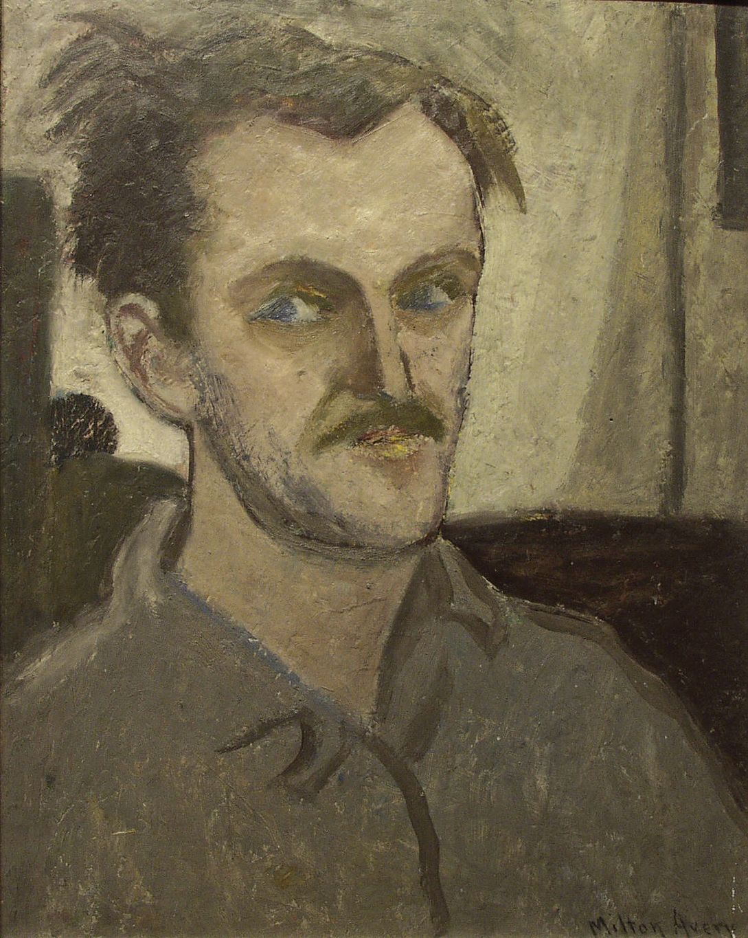 Milton Avery, Untitled Self-Portrait, c. 1935, oil on panel, 19 3/4 x 17 3/4 inches