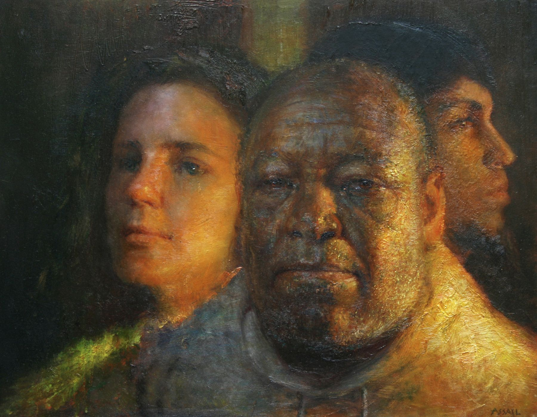 Steven Assael, Otis, Martha and Ben, 2008, oil on panel, 14 x 18 inches