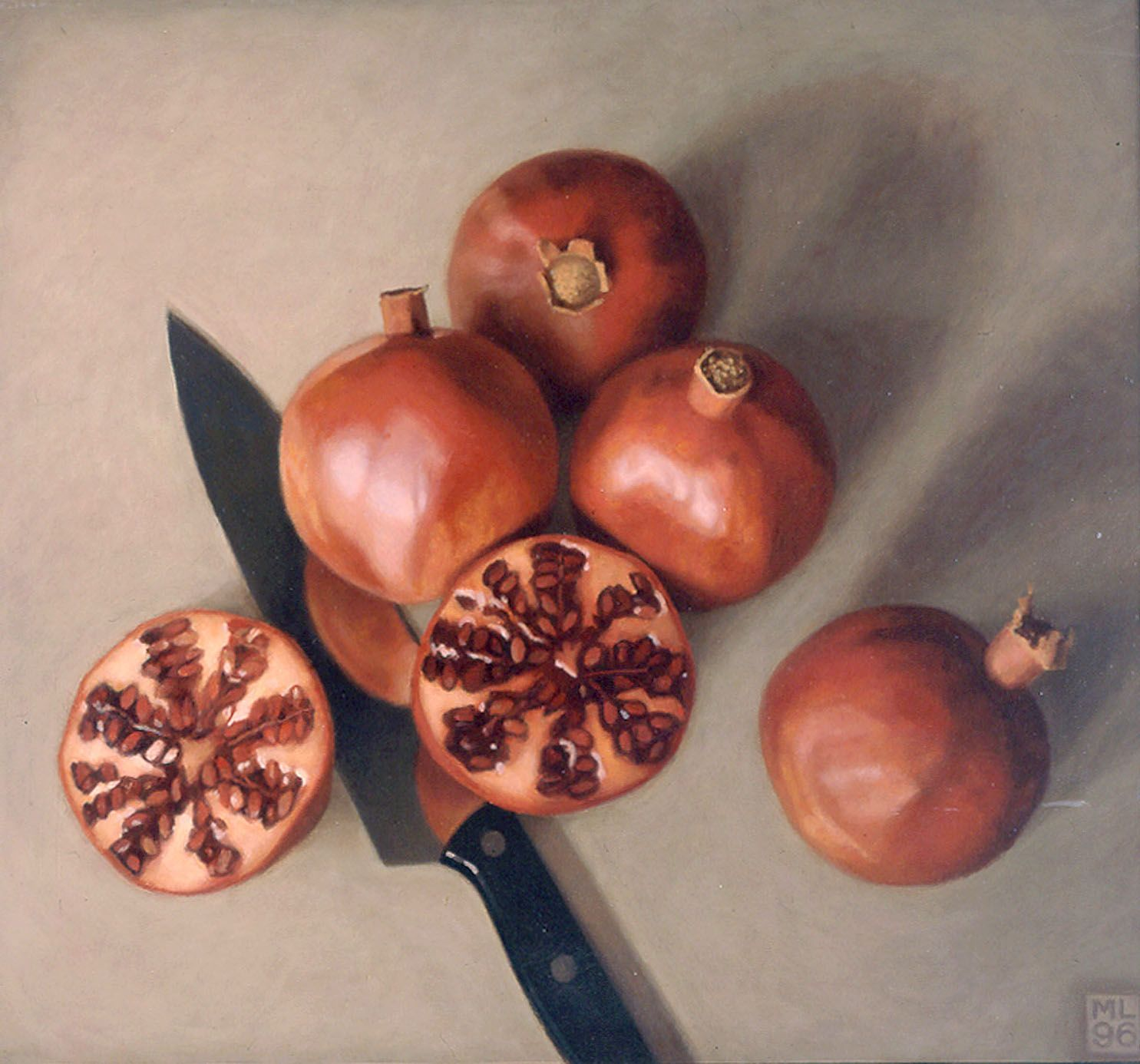 michael leonard, Five Pomegranates, 1996, alkyd oil on masonite, 17 x 18 1/2 inches