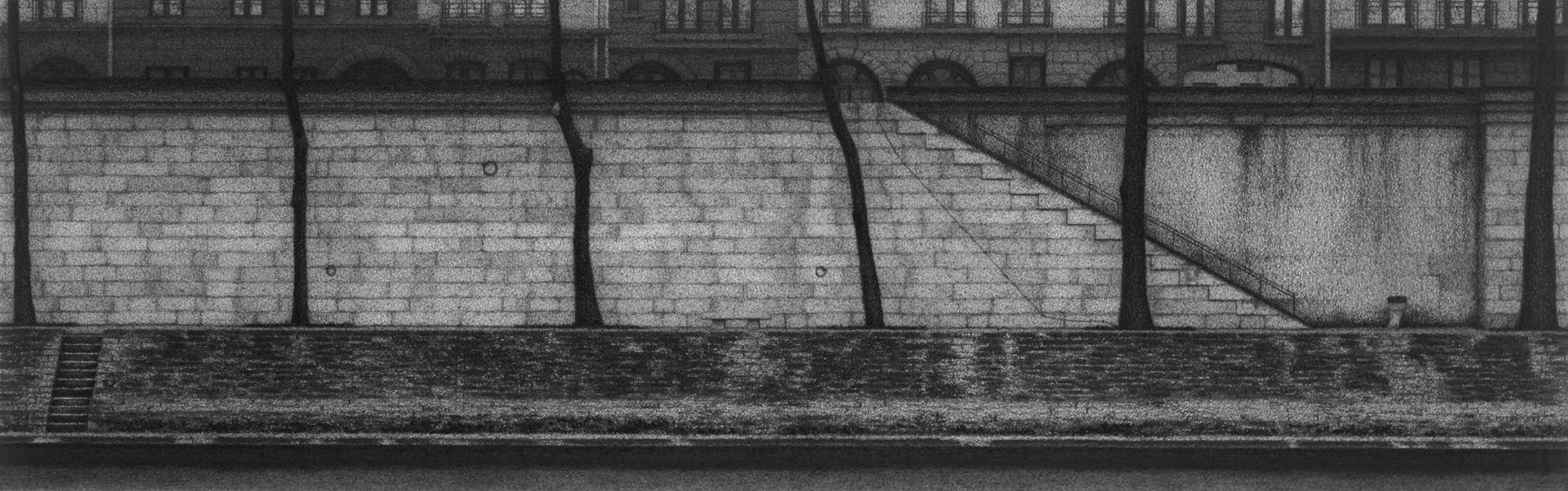 Anthony Mitri, Study: Rive Gauche, Paris, 2007, charcoal on paper, 6 1/4 x 19 3/4 inches