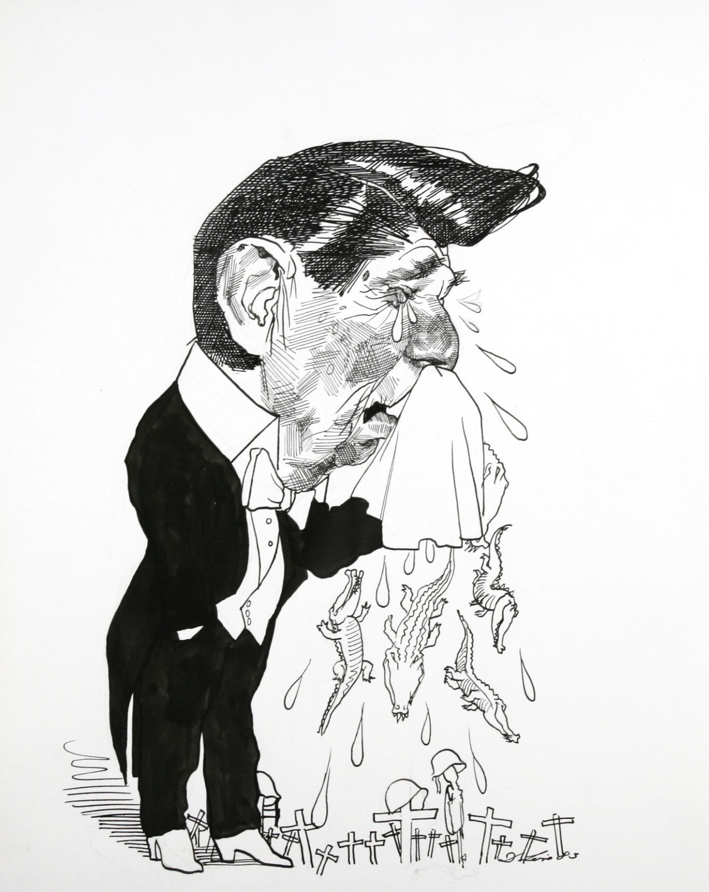 David Levine, Reagan -Alligator Tears, 1983, ink & pencil on paper, 13 1/2 x 11 inches