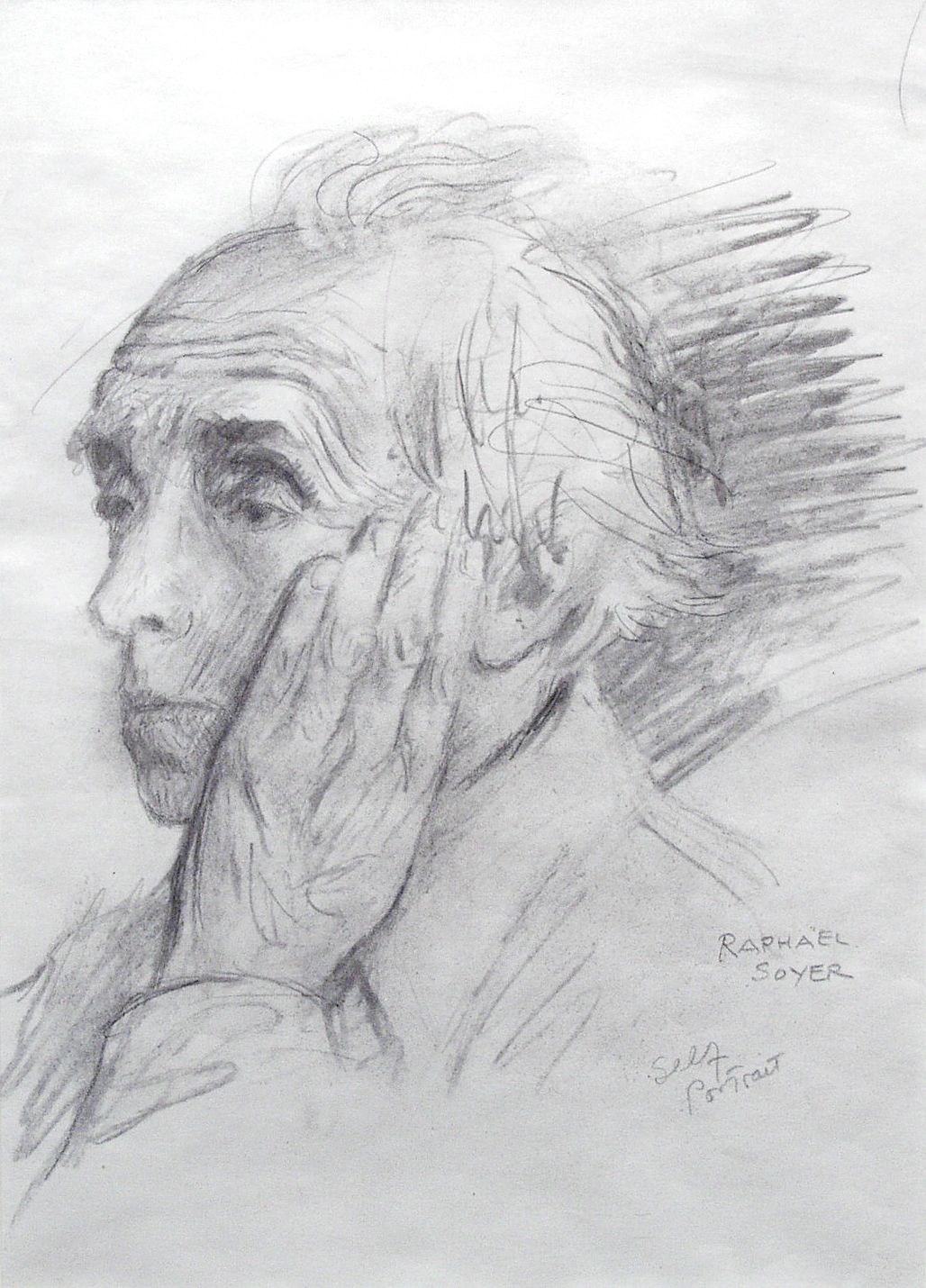 Raphael Soyer, Self-Portrait, n.d graphite on paper, 11 3/8 x 7 3/4 inches