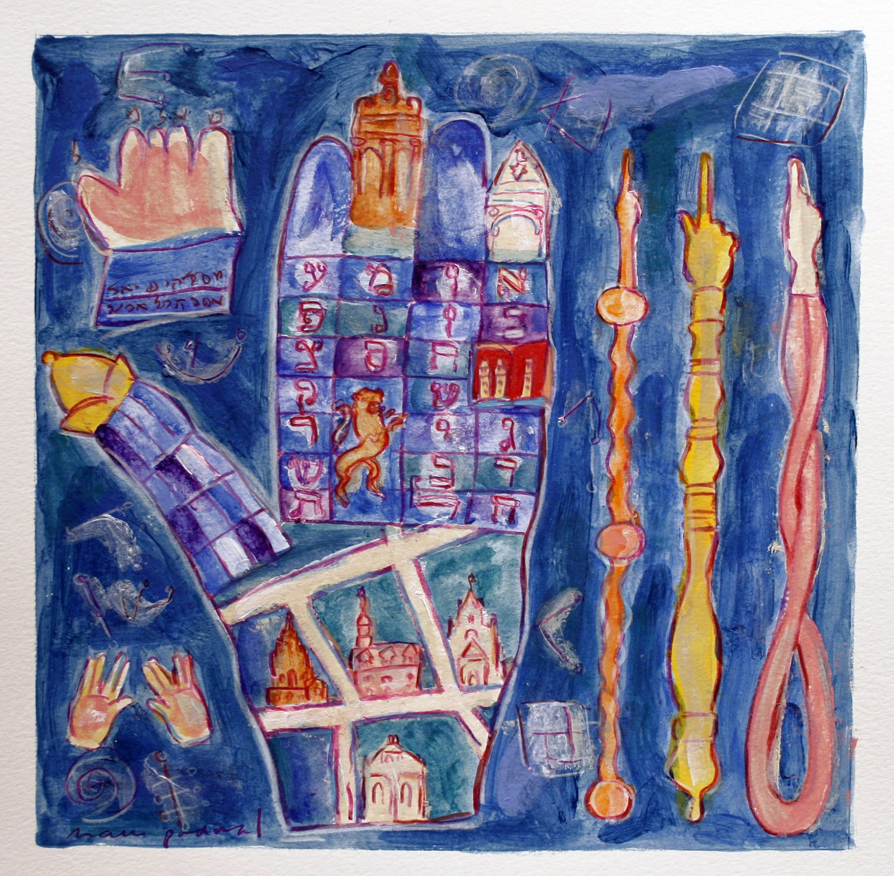 Mark Podwal, Magic Prague, 2008, acrylic, gouache and colored pencil on paper, 12 x 12 inches