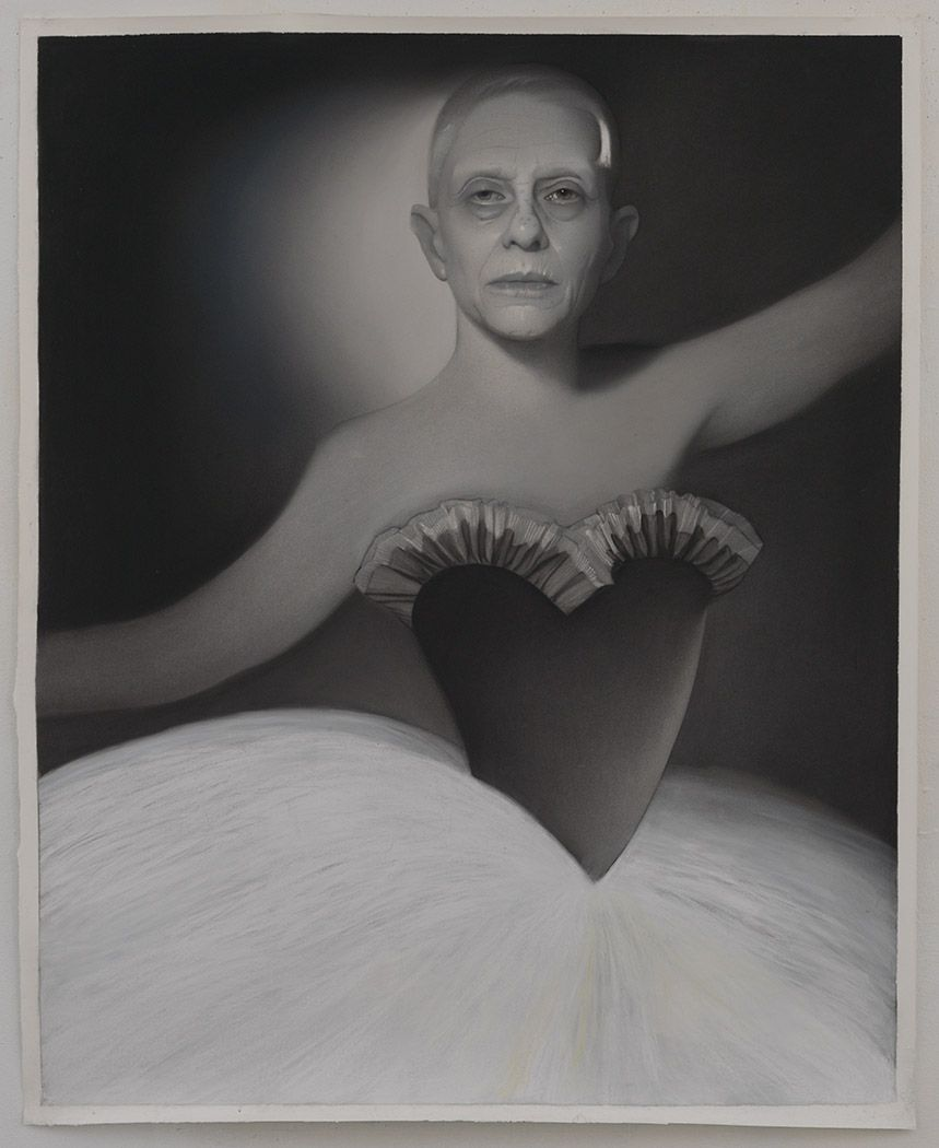 Susan Hauptman, L'après-midi D'un Faune Self Portrait, 2014, charcoal on paper, 47 1/2 x 59 inches
