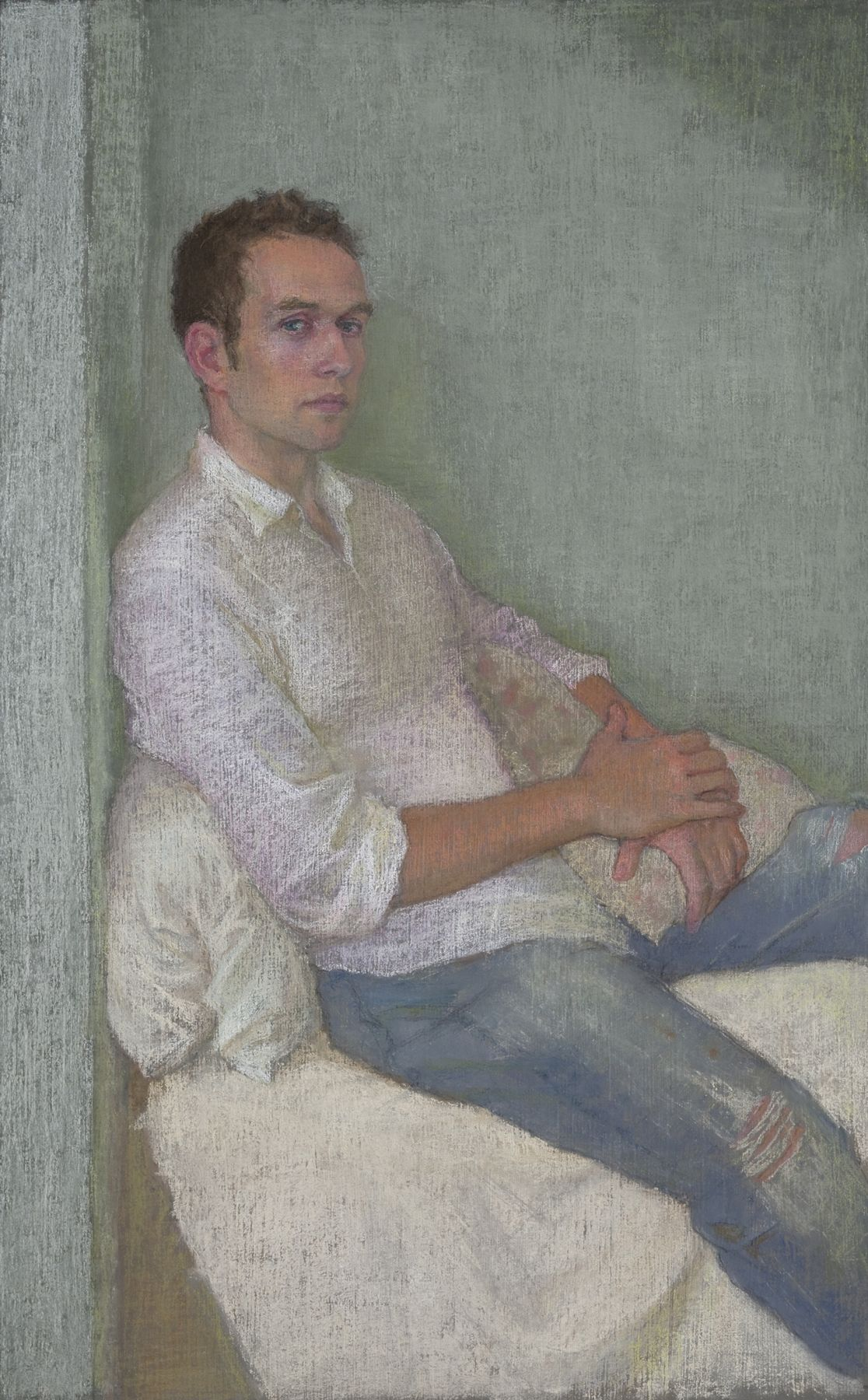 Ellen Eagle, Anastasio with Pillow, 2010, pastel on pumice board, 18 1/2 x 11 1/2 inches