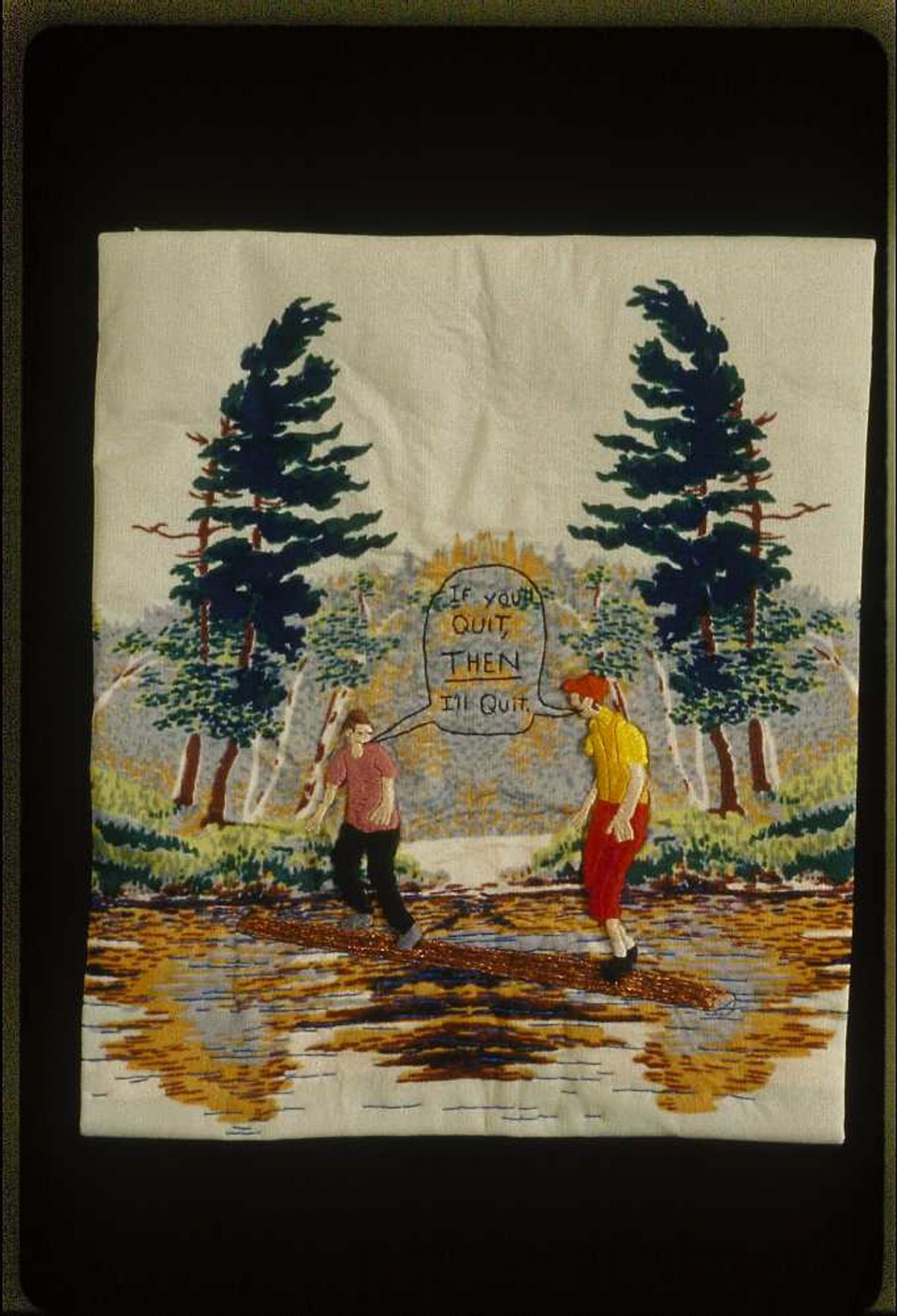 Darrel Morris, Log Rolling (SOLD), 2008, embroidery and applique, 11 1/4 x 9 1/2 inches