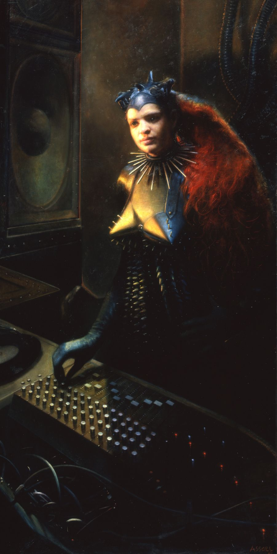 Steven Assael, Mixing the Mix, 2002, oil on canvas, 84 1/8 x 42 1/4 inches