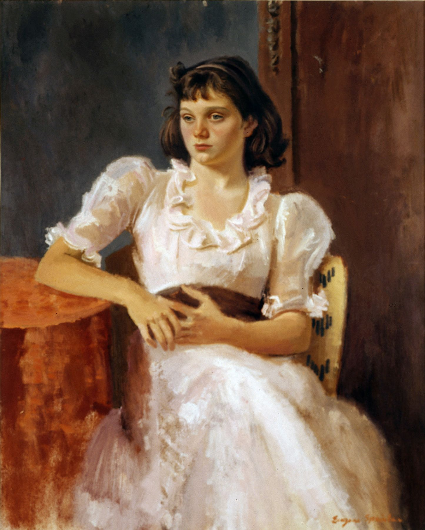 Eugene Speicher, Young Girl in Pink Dress, c. 1935, oil on canvas, 45 x 36 inches