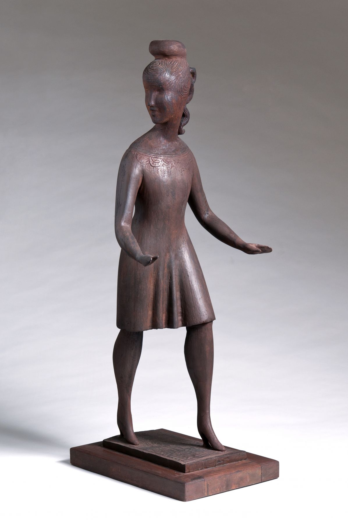 Elie Nadelman, Standing Girl, c. 1918-1920, carved cherry wood, 32 1/2 h x 12 3/8 w x 13 5/8 d inches