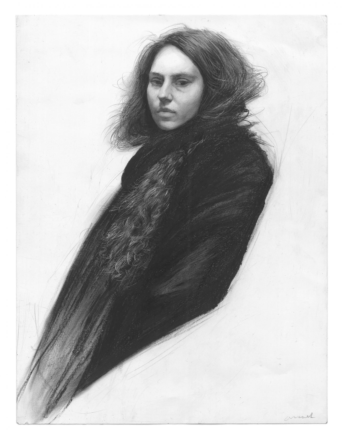 Steven Assael, Julie with Scarf, 2013, graphite and crayon on paper, 14 x 10 3/4 inches
