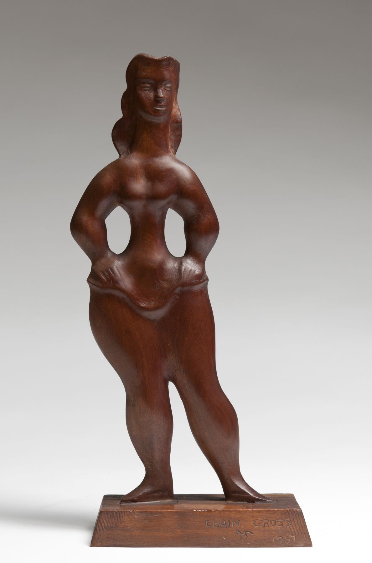 Chaim Gross, Circus Girl, 1957, Mahogany, 15 3/4 h x 8 w x 3 1/2 d (at base) inches