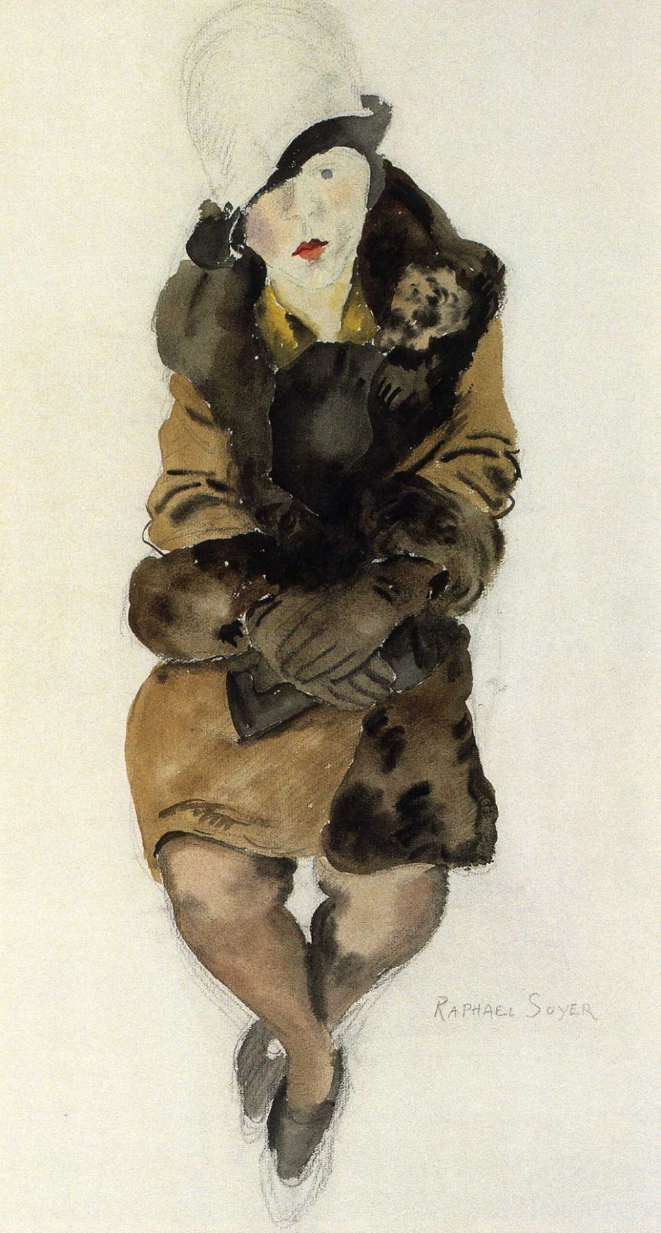 Raphael Soyer, Woman in a Coat and Hat (SOLD), c. 1928, watercolor on paper, 20 1/2 x 11 inches