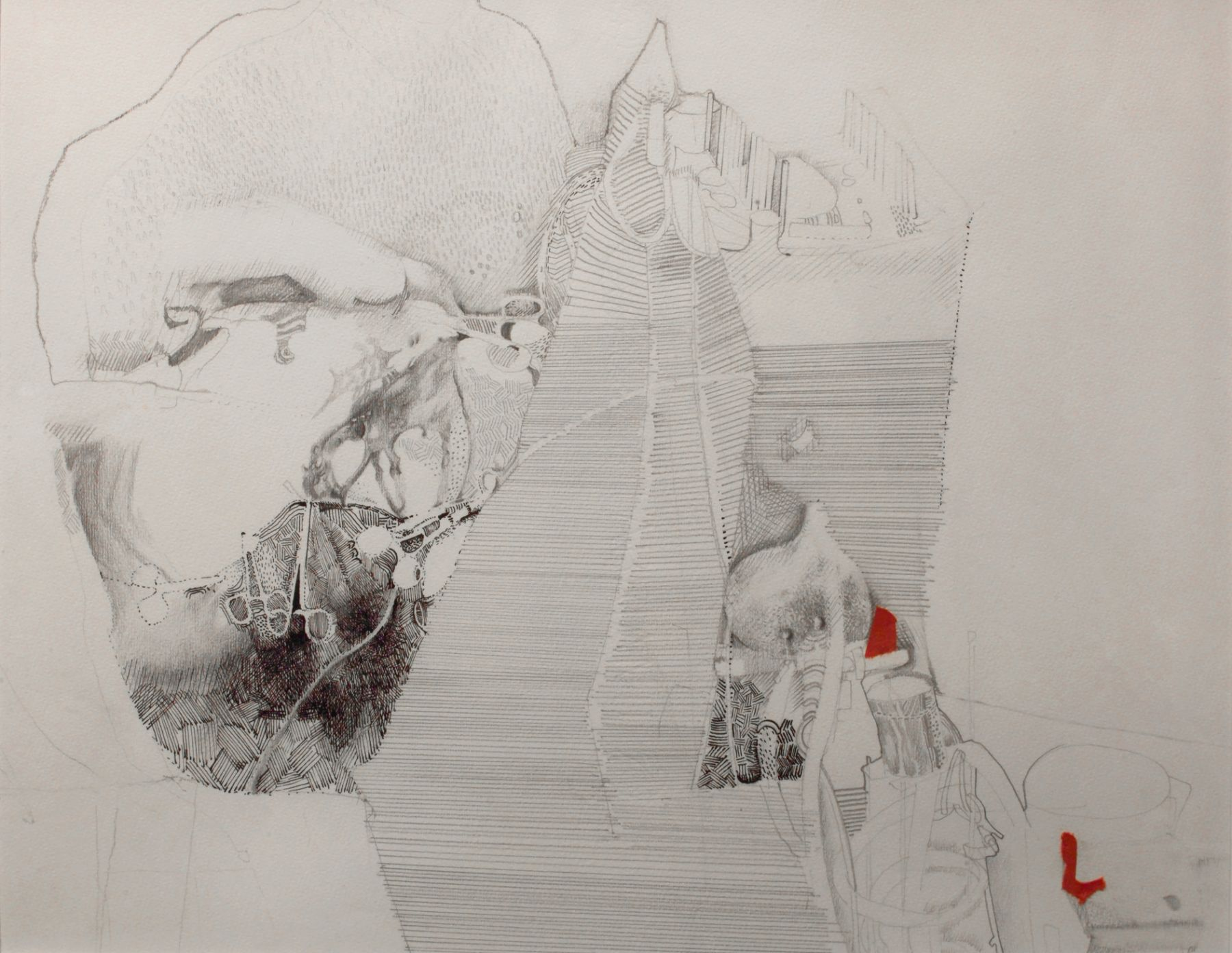 Jules Kirschenbaum, Operation, 1971, ink & pencil on paper, 11 1/2 x 15 1/4 inches