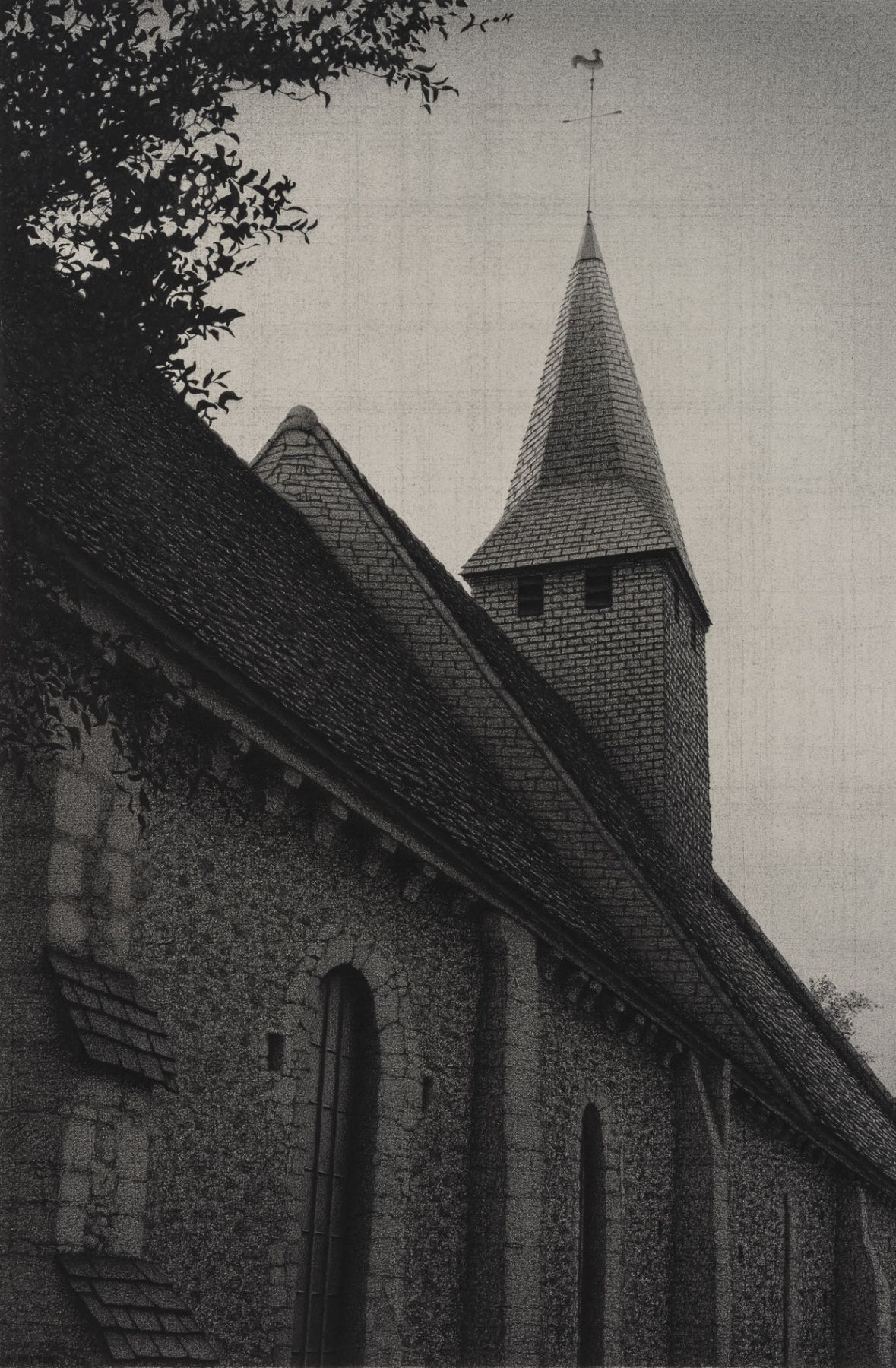 anthony mitri, Chapelle 3, Normandy, France, 2012, charcoal on paper, 19 3/4 x 13 1/8 inches