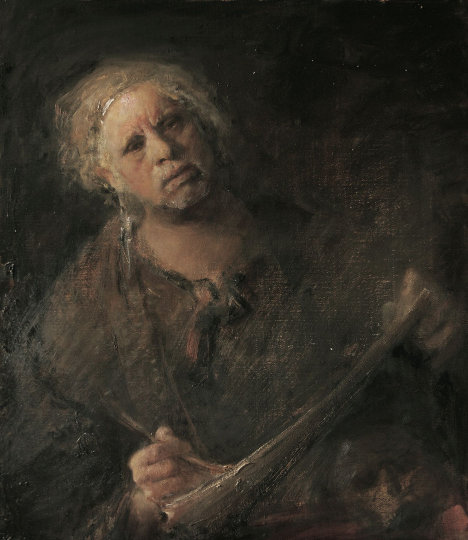 odd nerdrum, Self Portrait with Child's Skull, oil on canvas, 34 1/2 x 30 inches