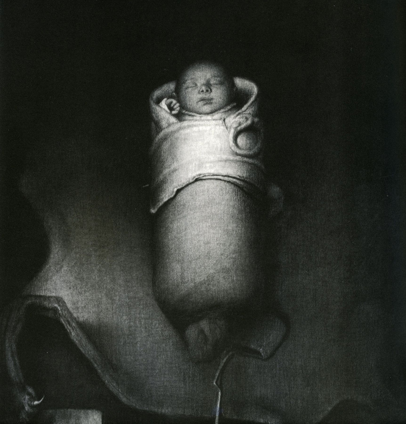 Odd Nerdrum, New Born, 1994, charcoal on paper, 31 1/2 x 27 1/2 inches